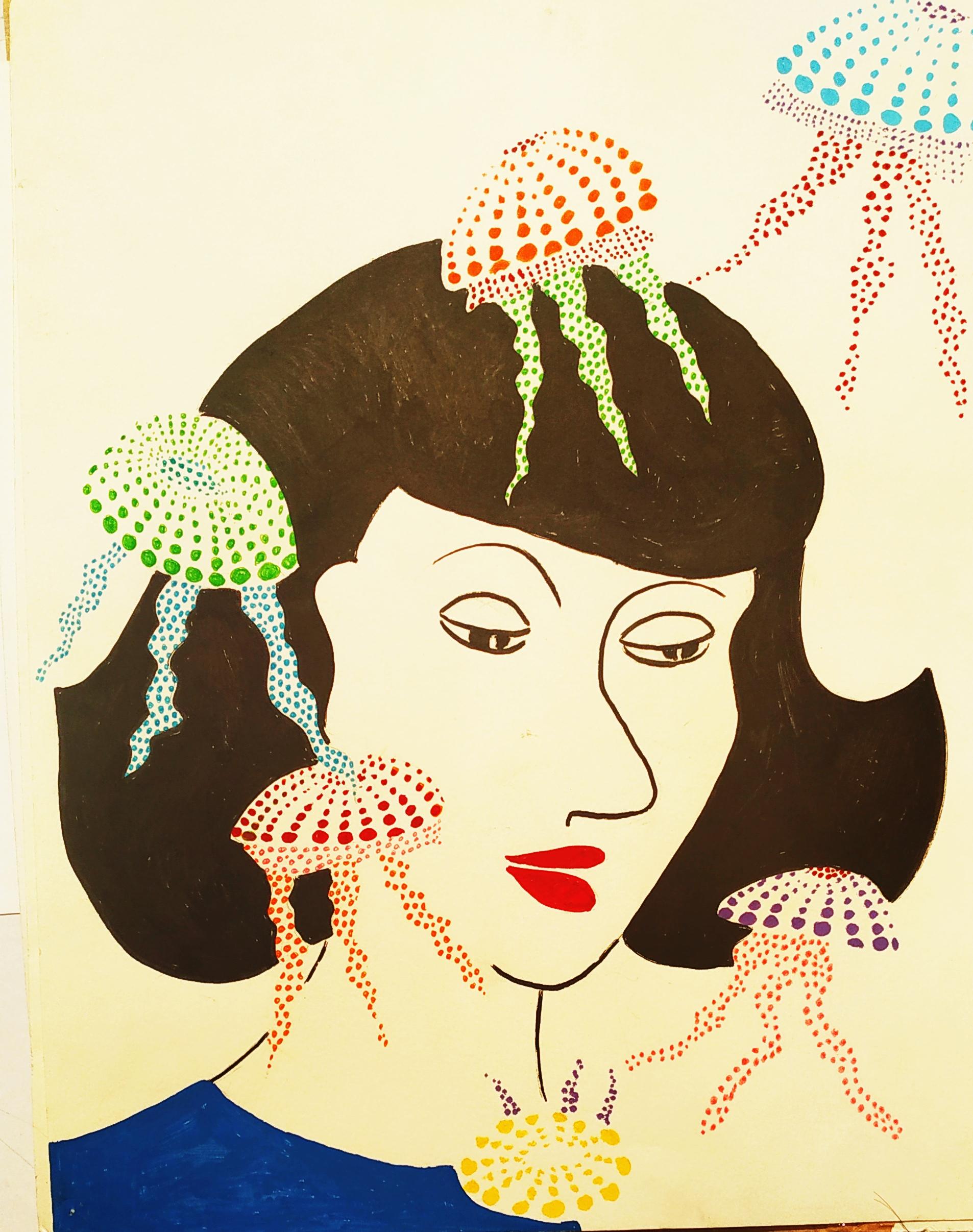 Peinture Gouache en � plat sur papier femme m�duse  cours de dessin