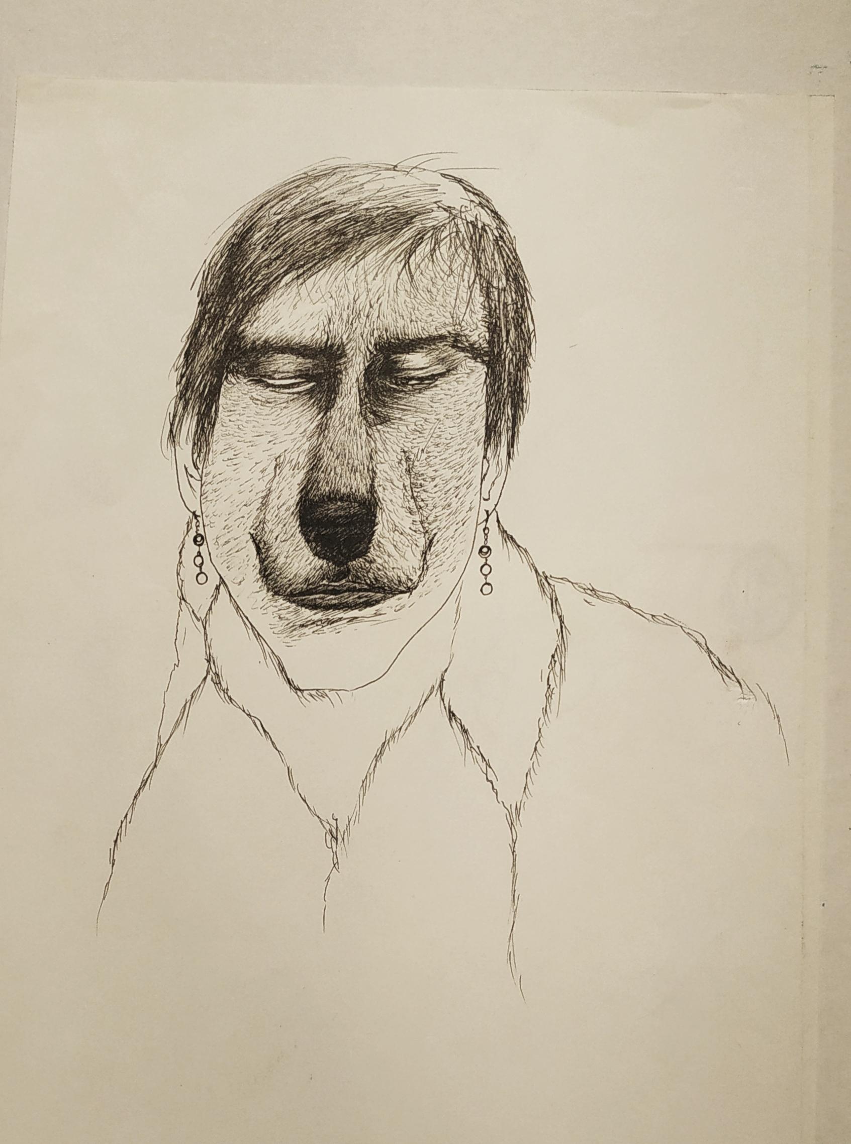 Portrait au feutre fin noir sur papier  cours de dessin
