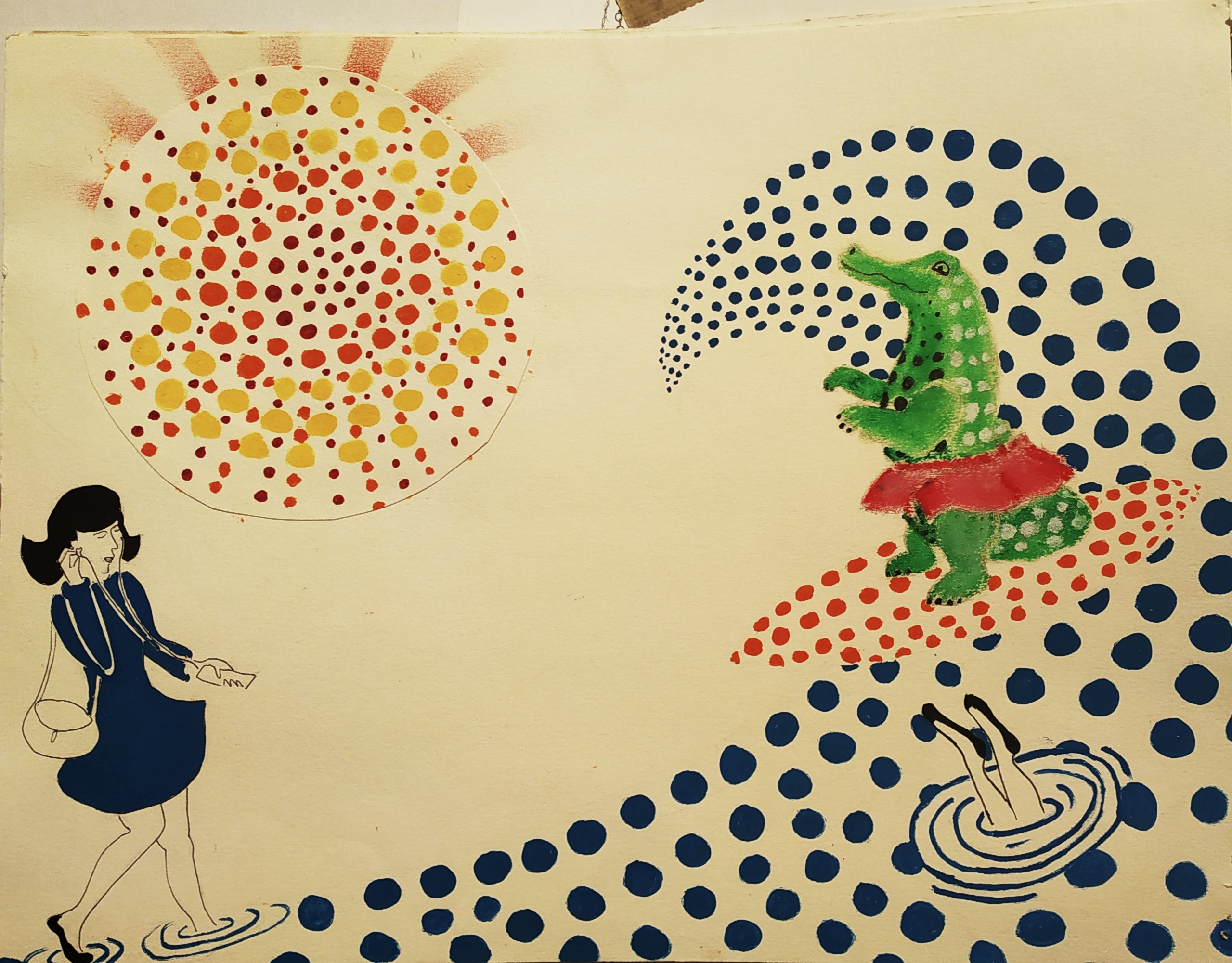 Dessin crocodile en tutu peinture sur papier  cours de dessin