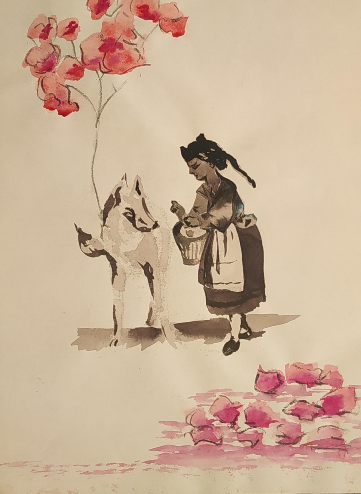 Dessin lavis et aquarelles sur papier Loup  cours de dessin