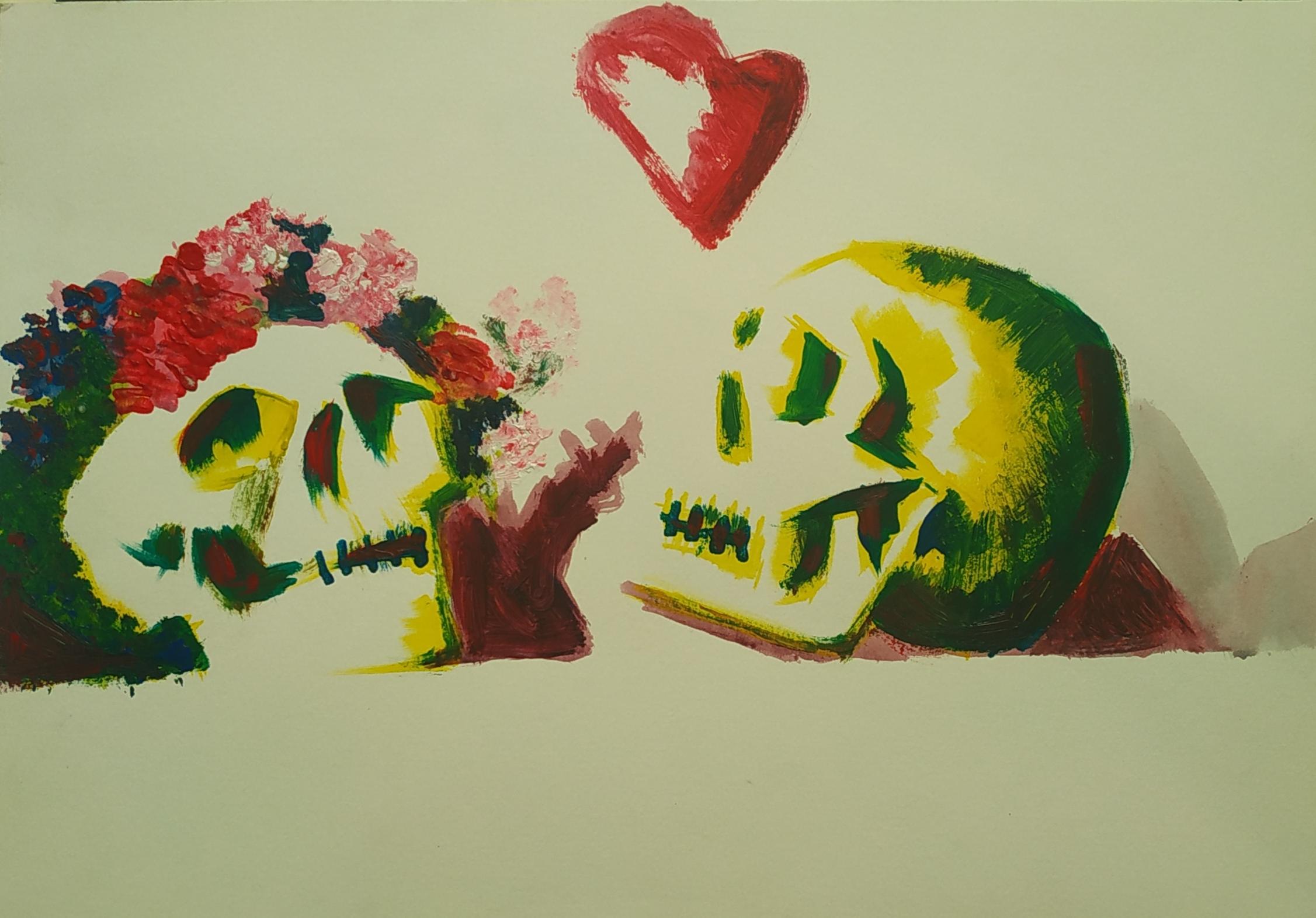 Croquis de deux cr�nes � la gouache en couleur sur papier  cours de dessin