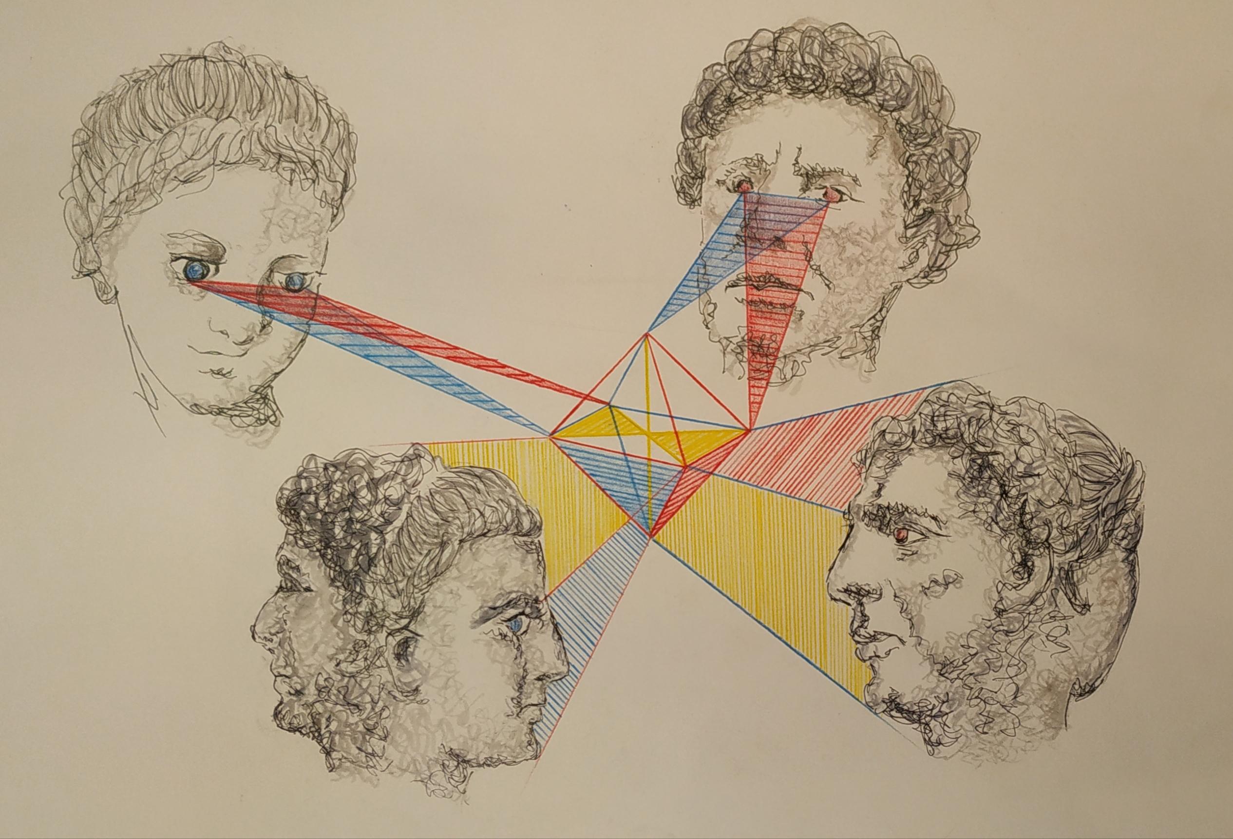 Portrait g�om�trie couleurs � la crois�e des regards  cours de dessin