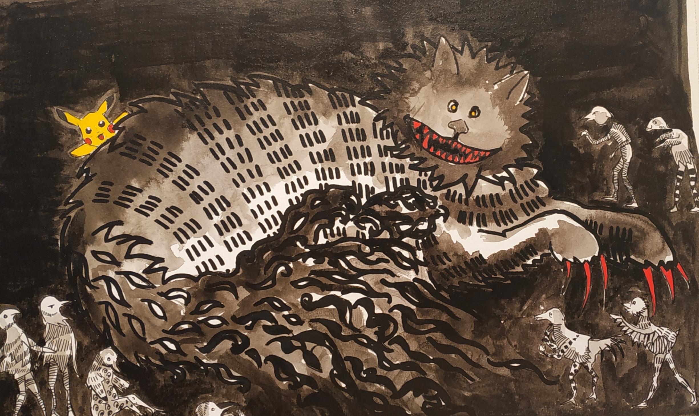 Dessin encre de Chine couleurs chat  cours de dessin