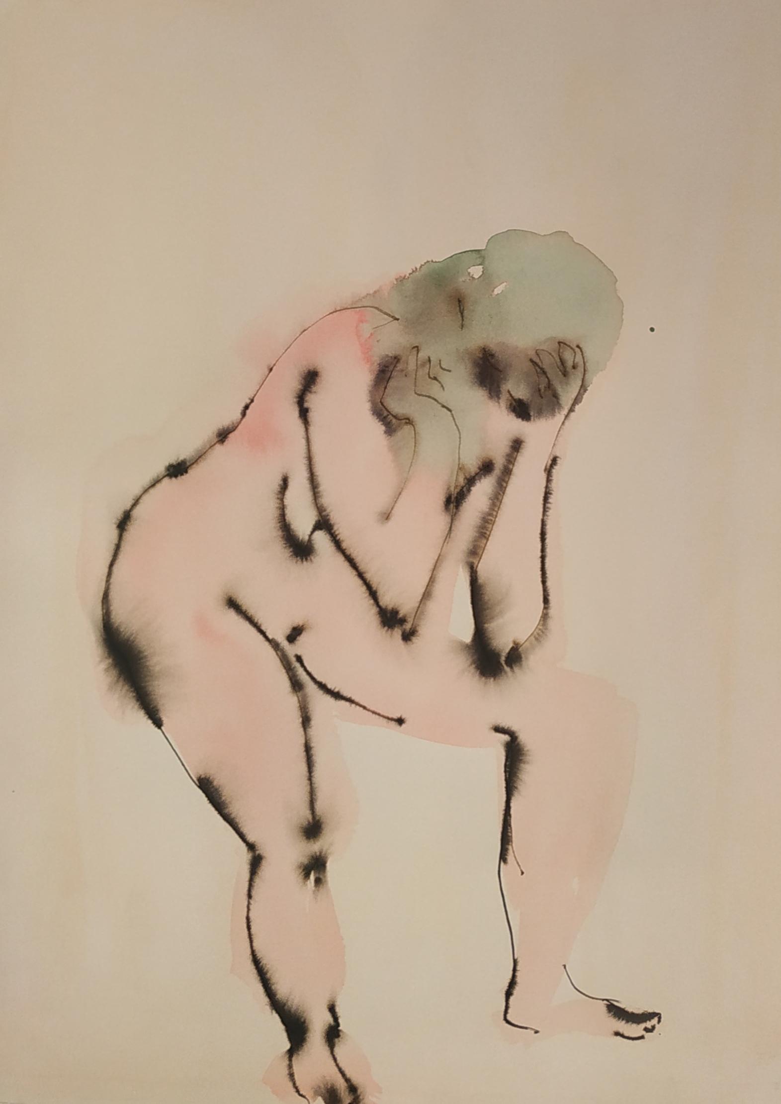 Croquis aquarelle mod�le vivant assis couleurs sur papier  cours de dessin
