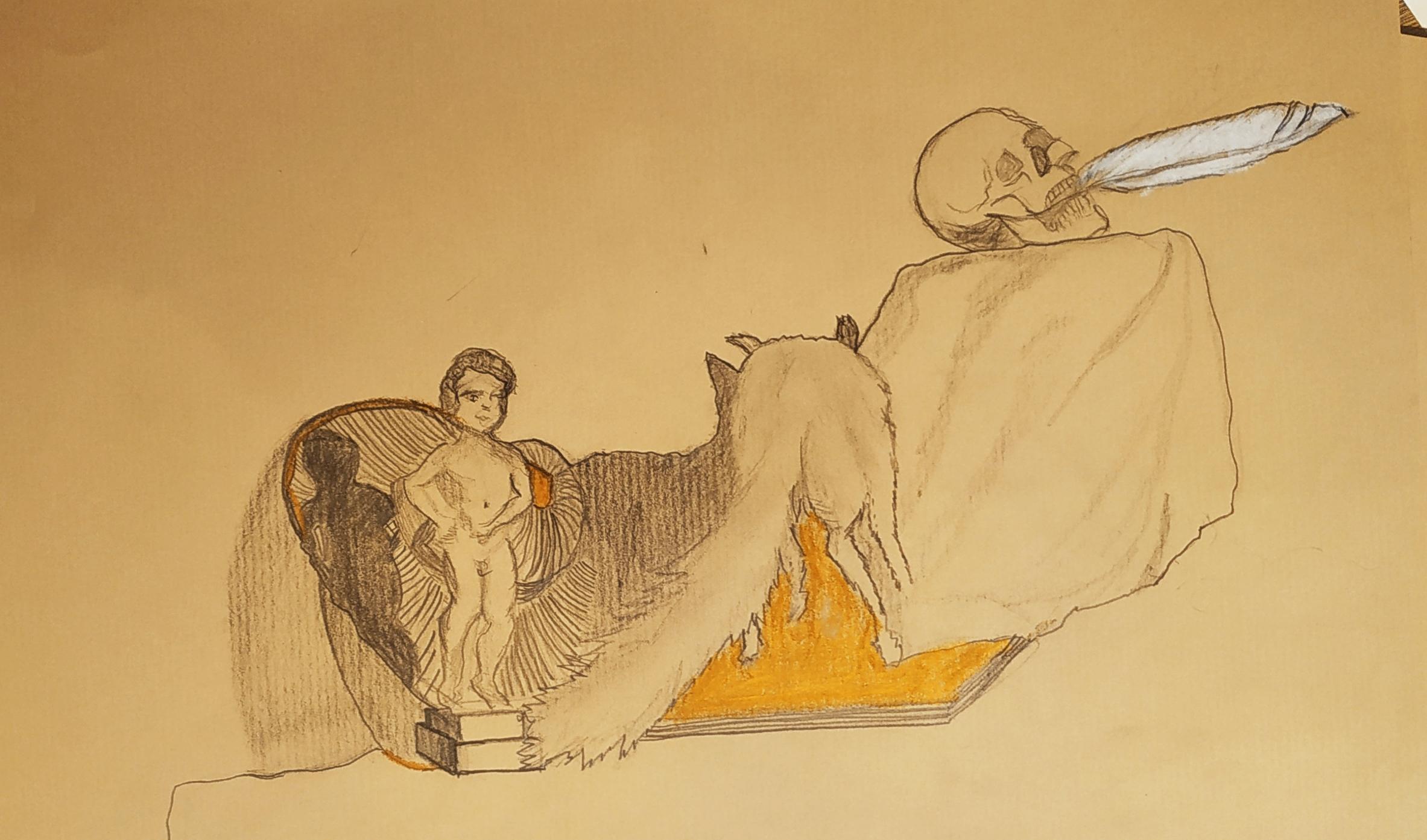 Natures mortes pastel et craie sur papier Kraft  cours de dessin