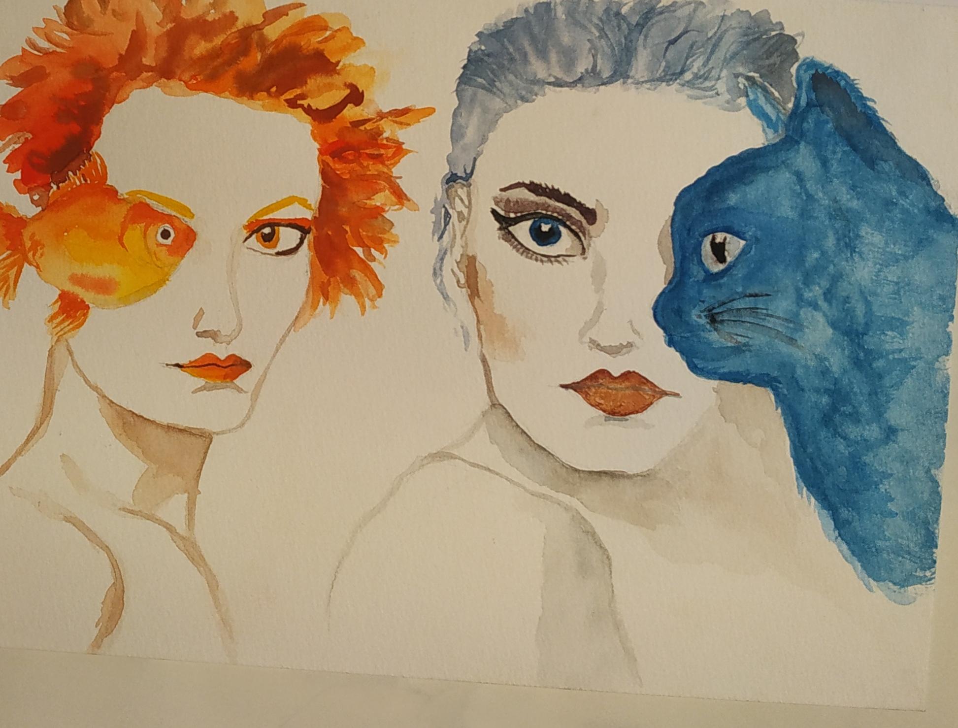 Portrait chat poisson aquarelles couleurs  cours de dessin