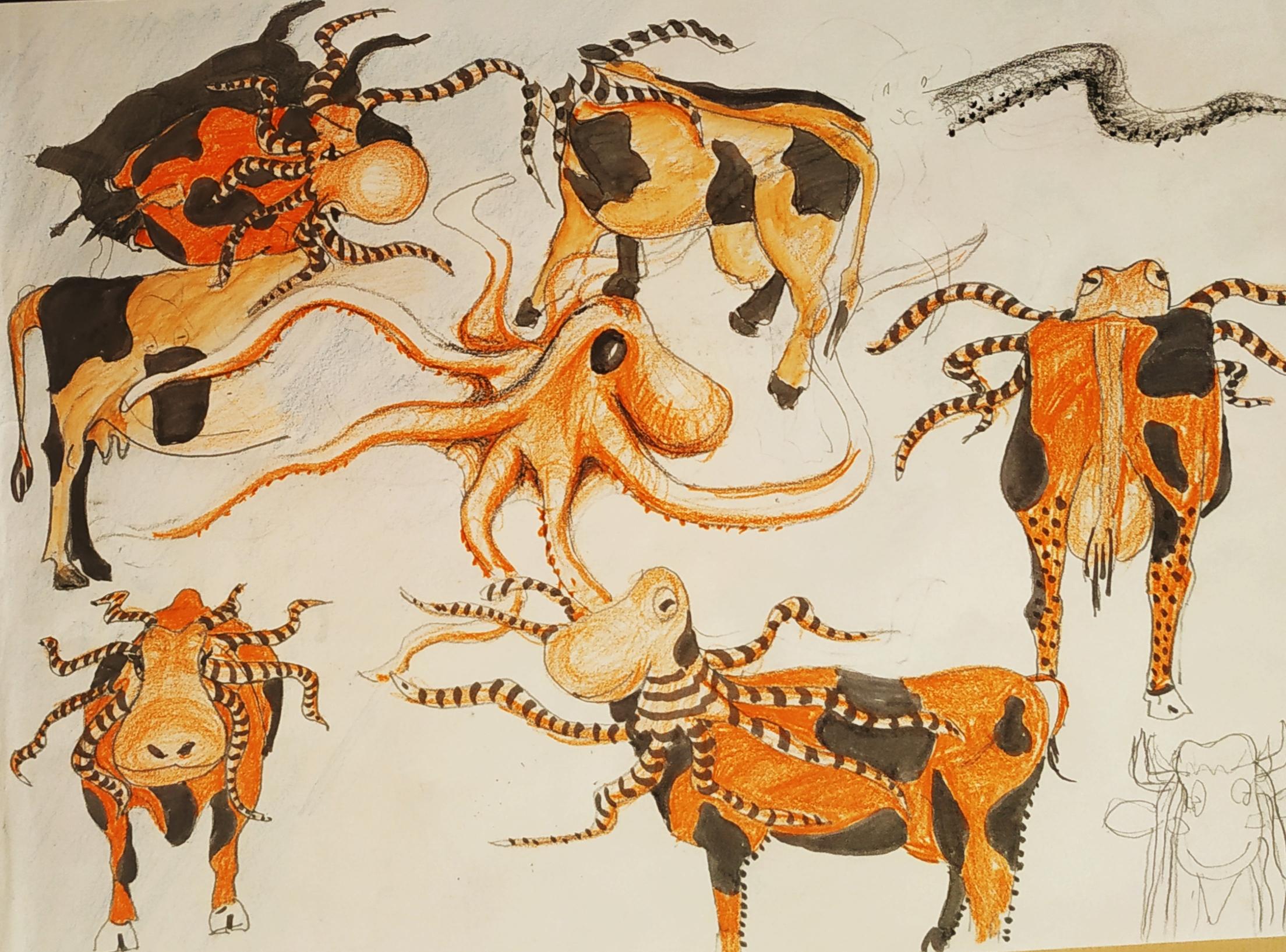 Dessin encre de Chine crayon de couleur poulpe vache orange  cours de dessin
