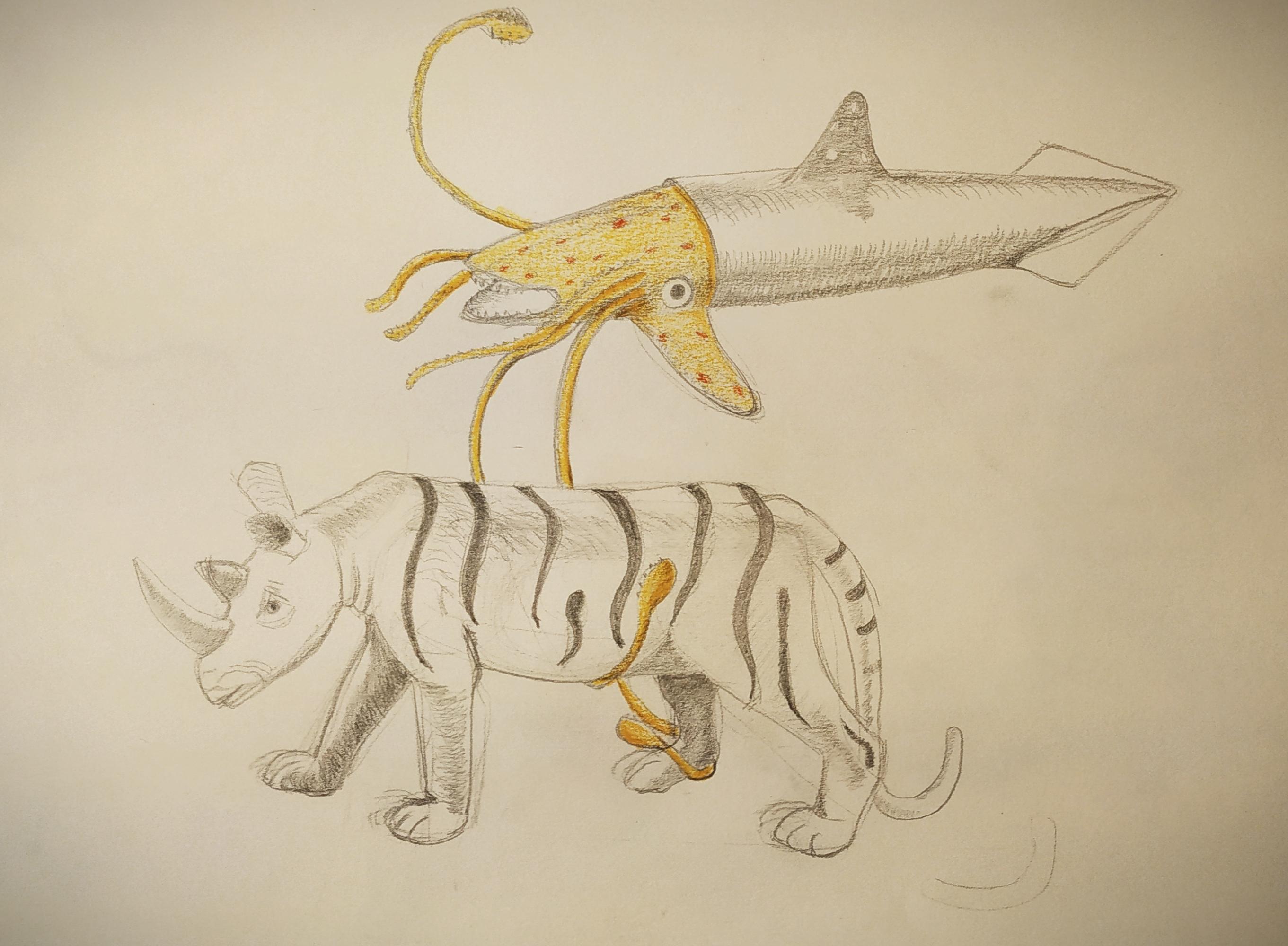 Dessin chim�re crayon papier Et crayon de couleur  cours de dessin
