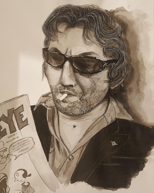 Dessin encre de Chine Et eau Serge Gainsbourg  cours de dessin