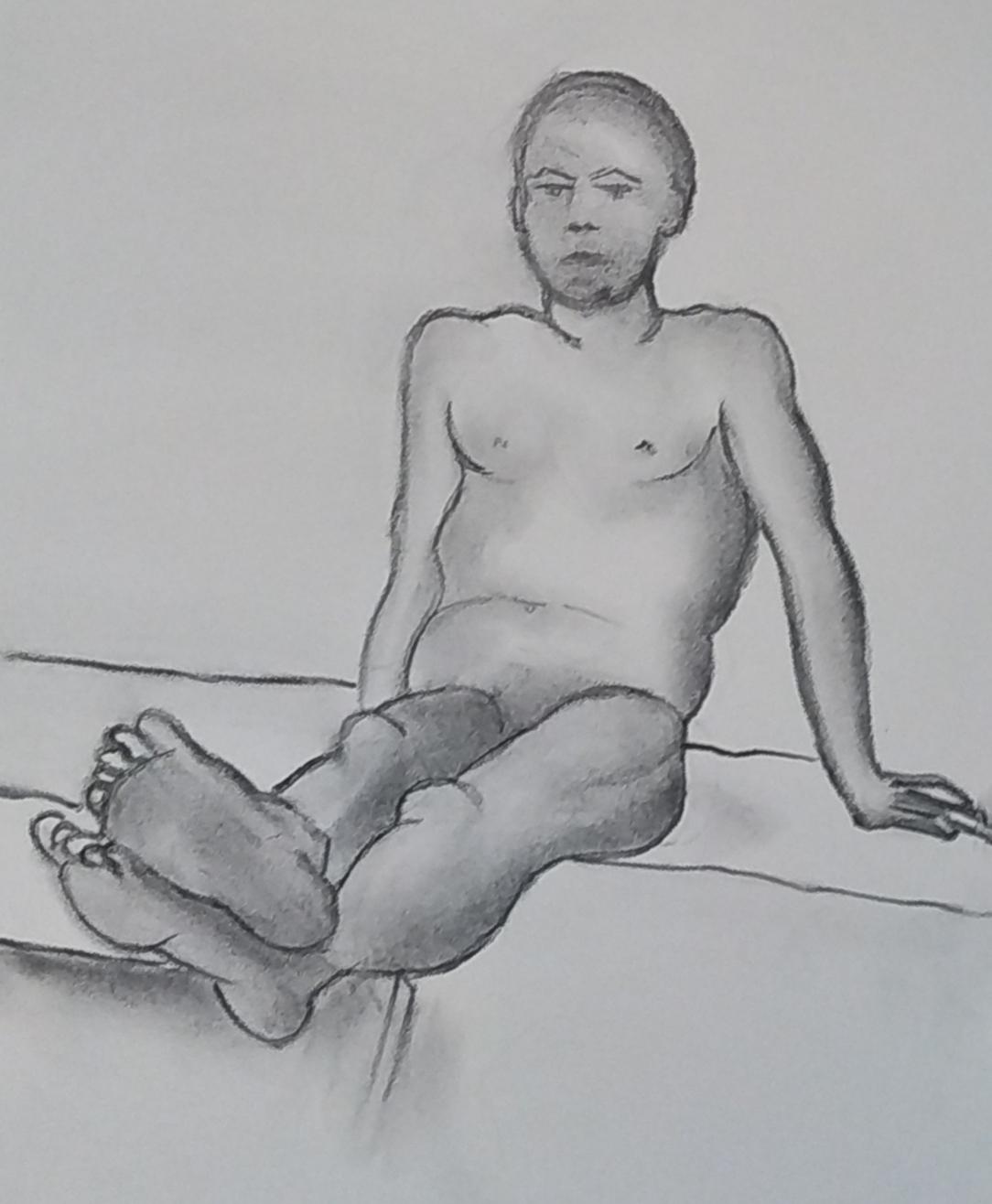 Dessin nu fusain homme  cours de dessin