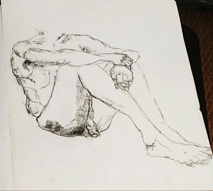 �bauche mod�le vivant au fusain assis sur papier  cours de dessin