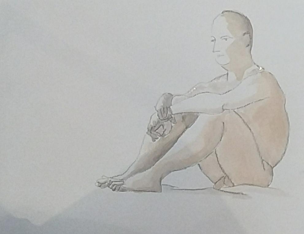 Dessin fusain aquarelle sur papier Homme assis  cours de dessin