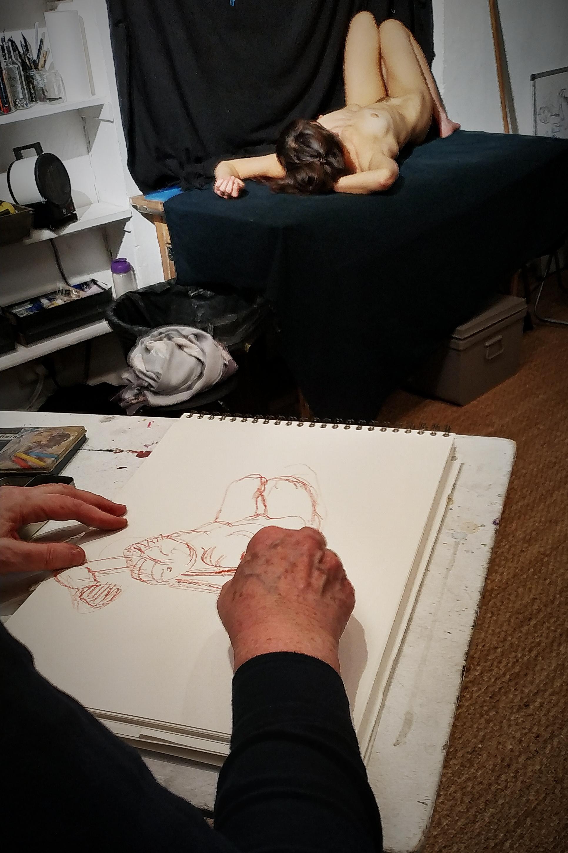 Croquis sanguine raccourci  cours de dessin