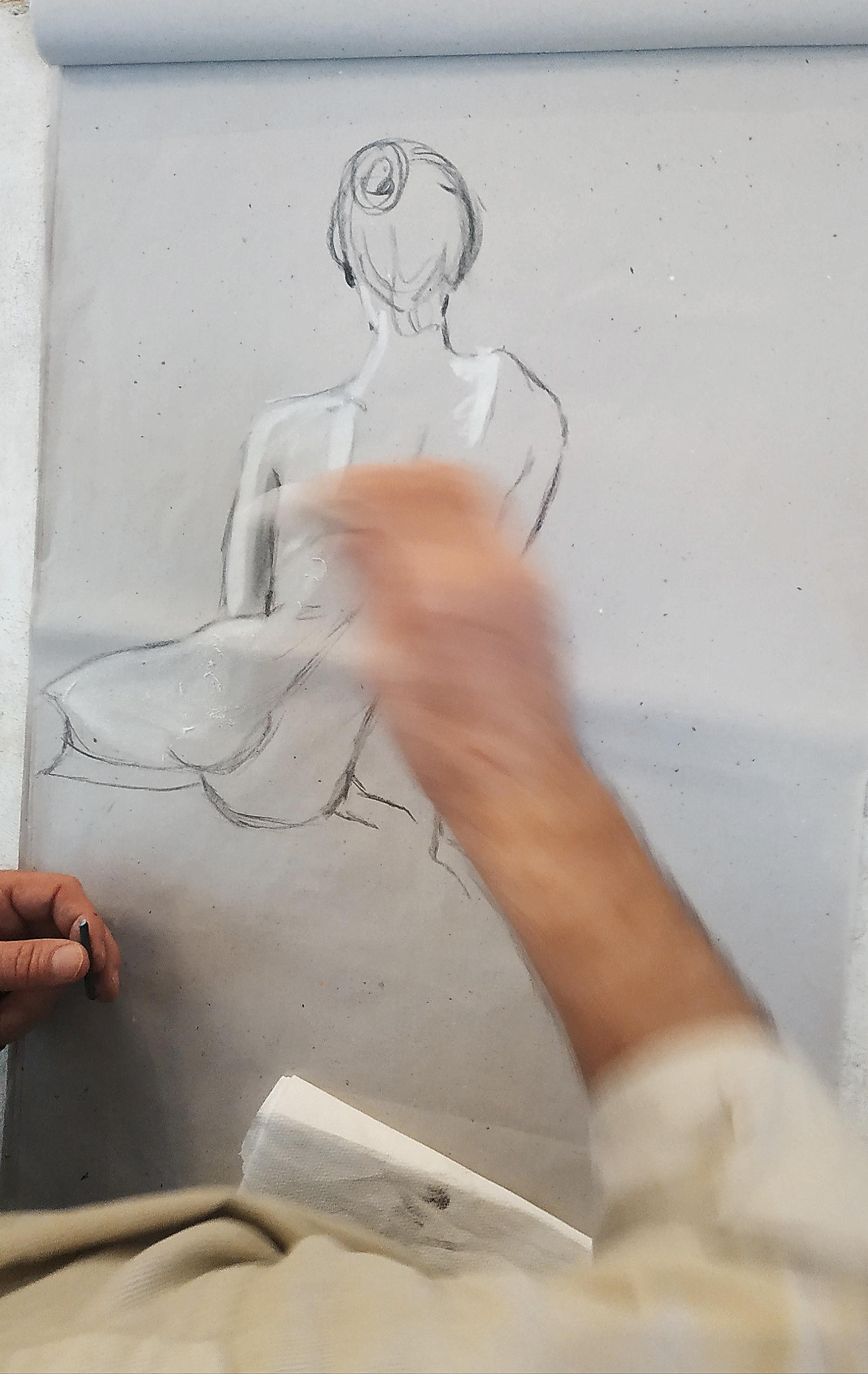 Dessin croquis craie blanche fusain  cours de dessin