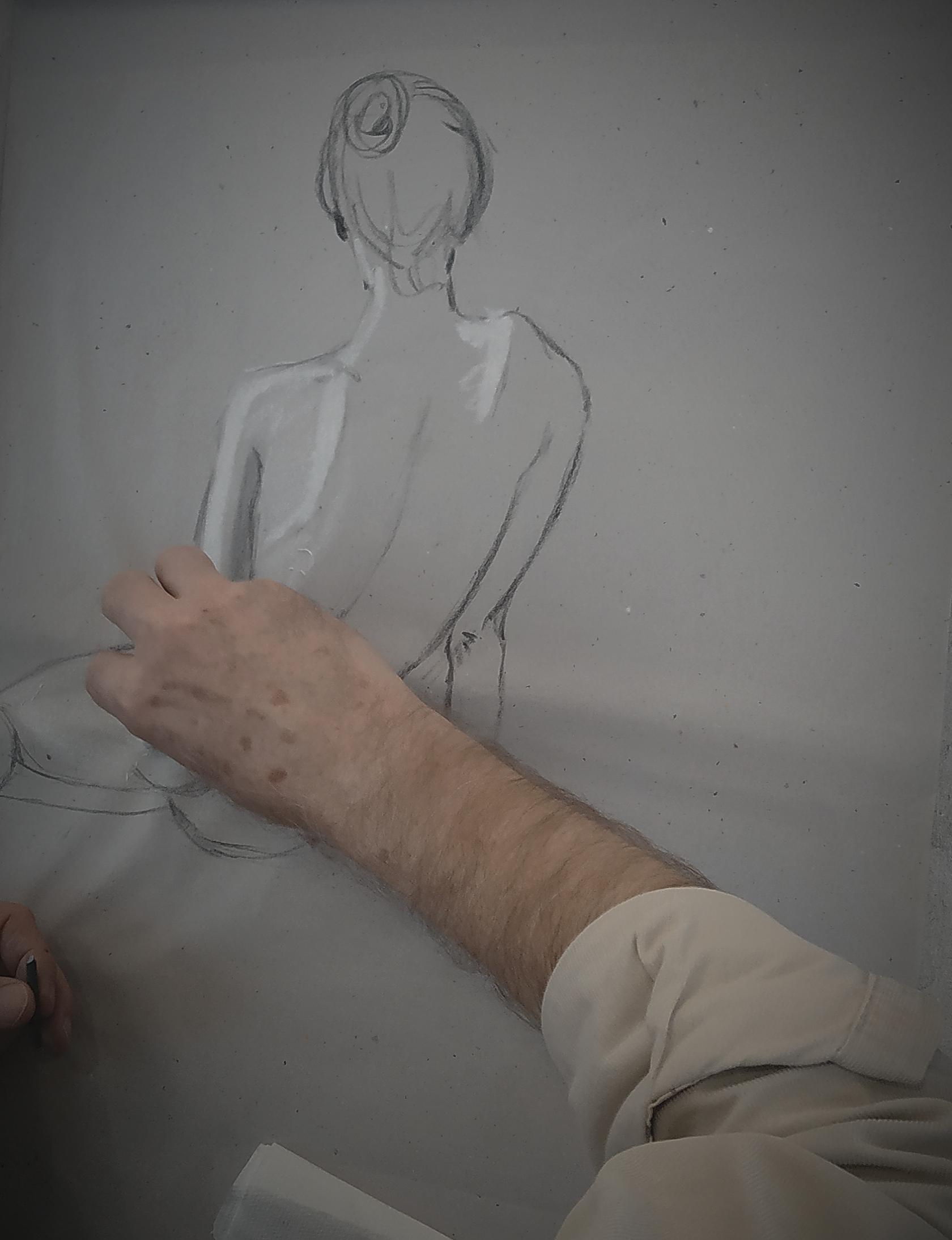 Croquis dessin format raisin fusain craie blanche  cours de dessin
