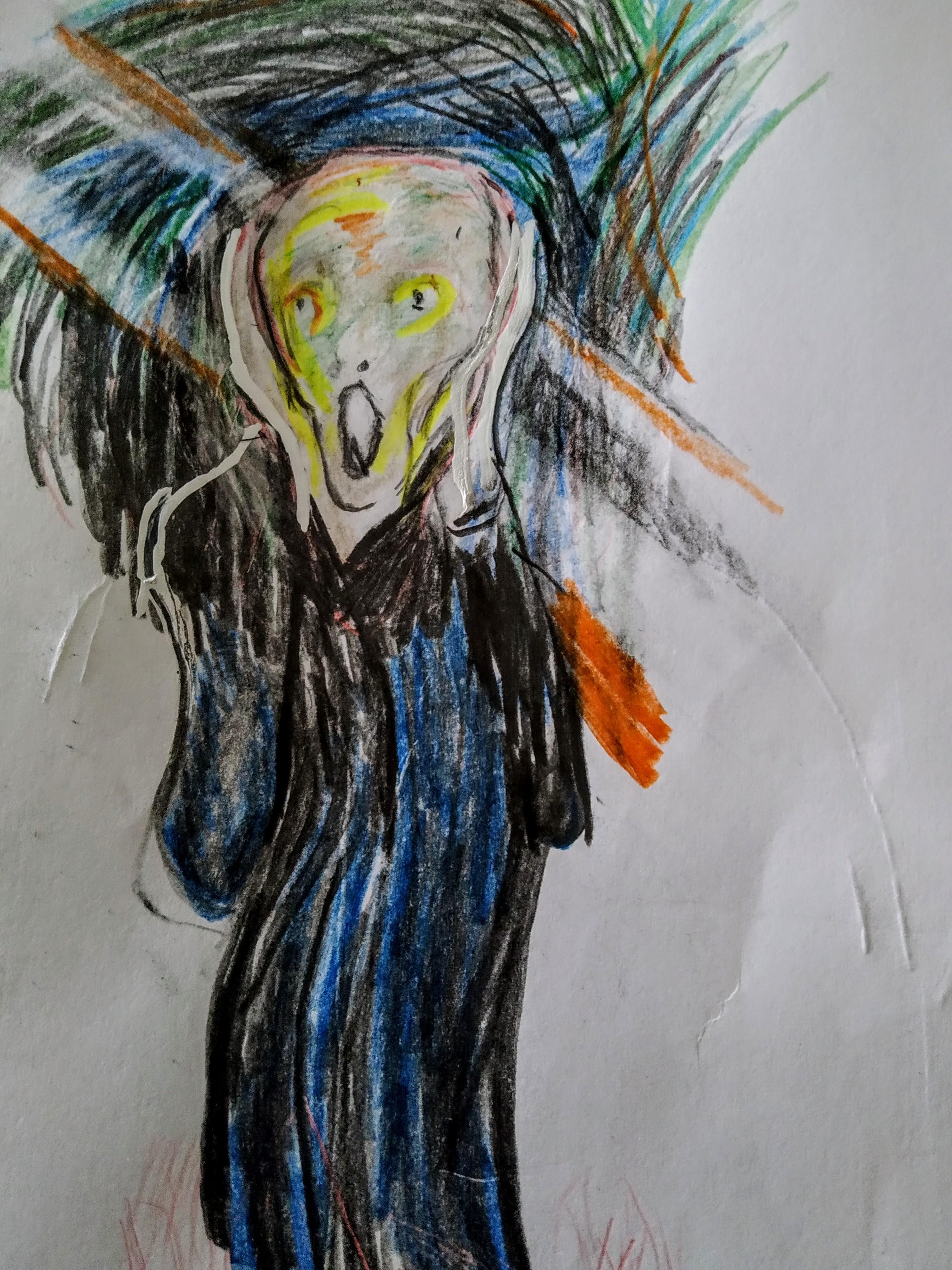 Dessin crayon couleur le cri de  cours de dessin