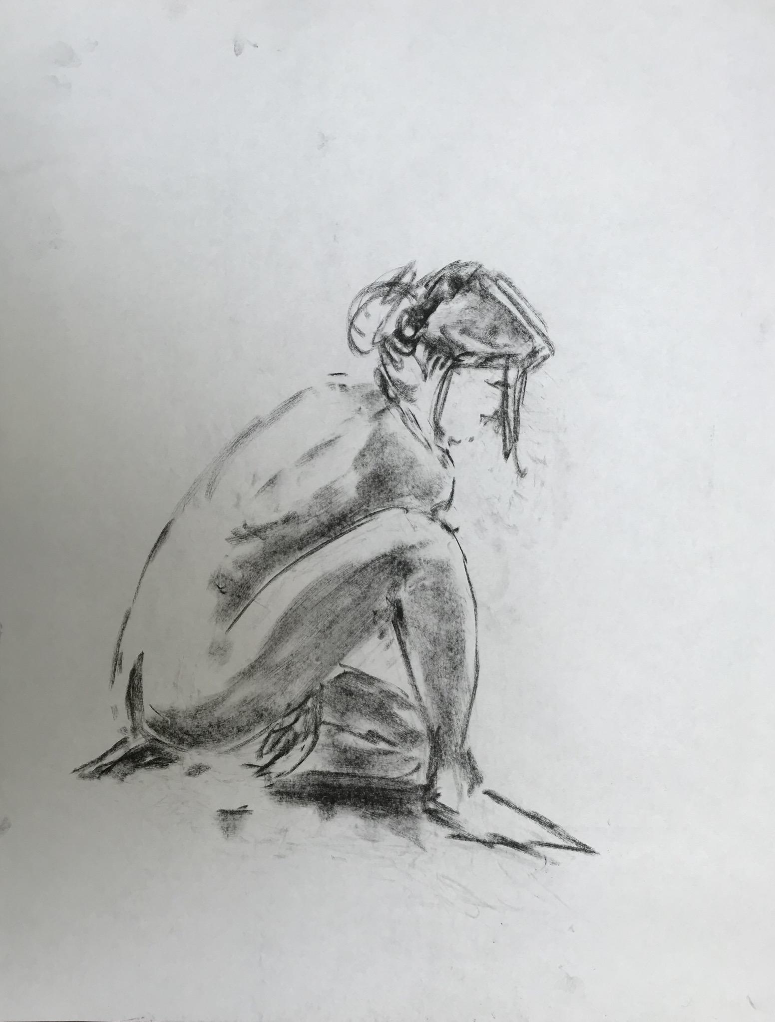 Dessin fusain Mod�le vivant assis sur le vif  cours de dessin