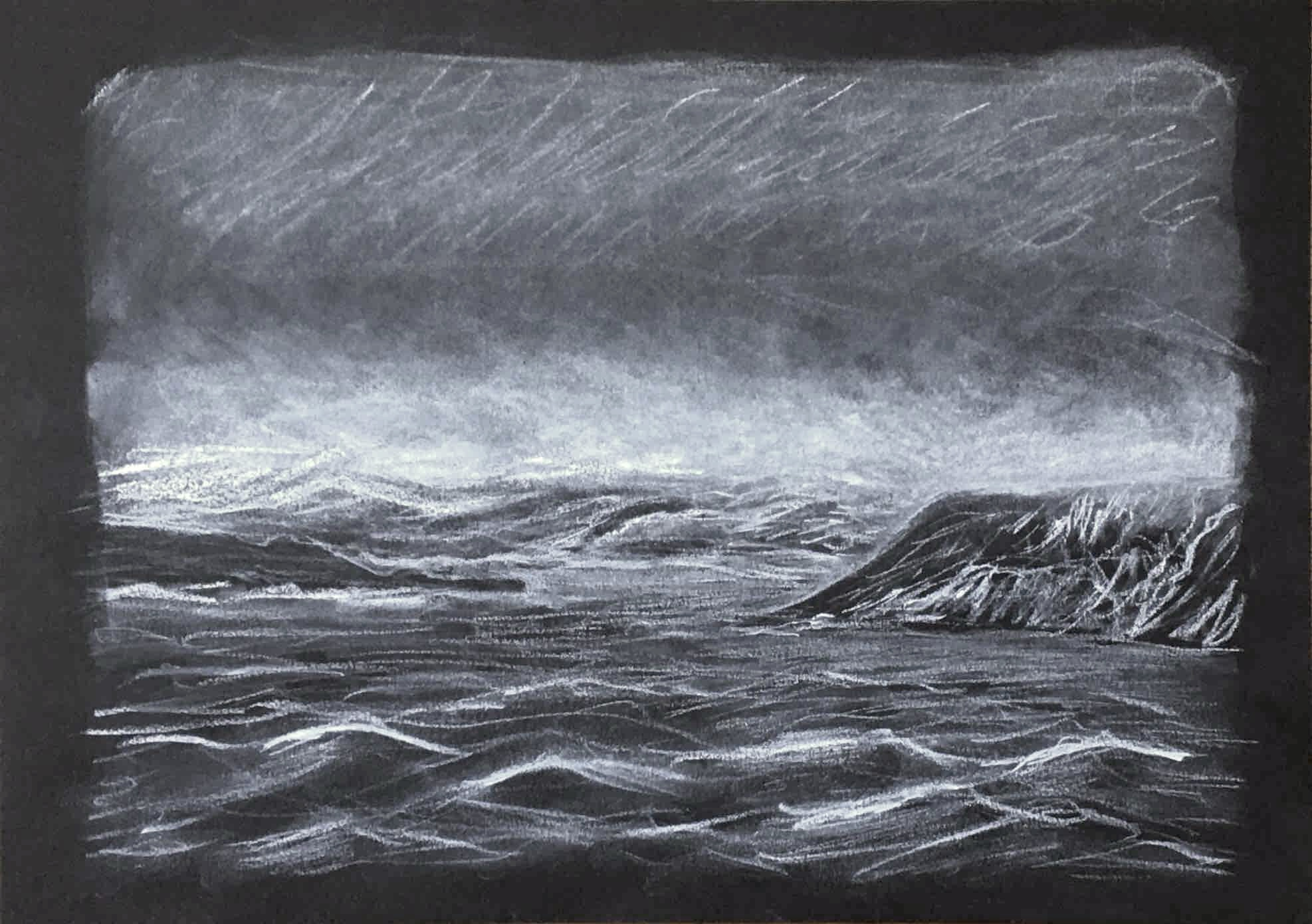 Paysage marin craie sur papier noir  cours de dessin