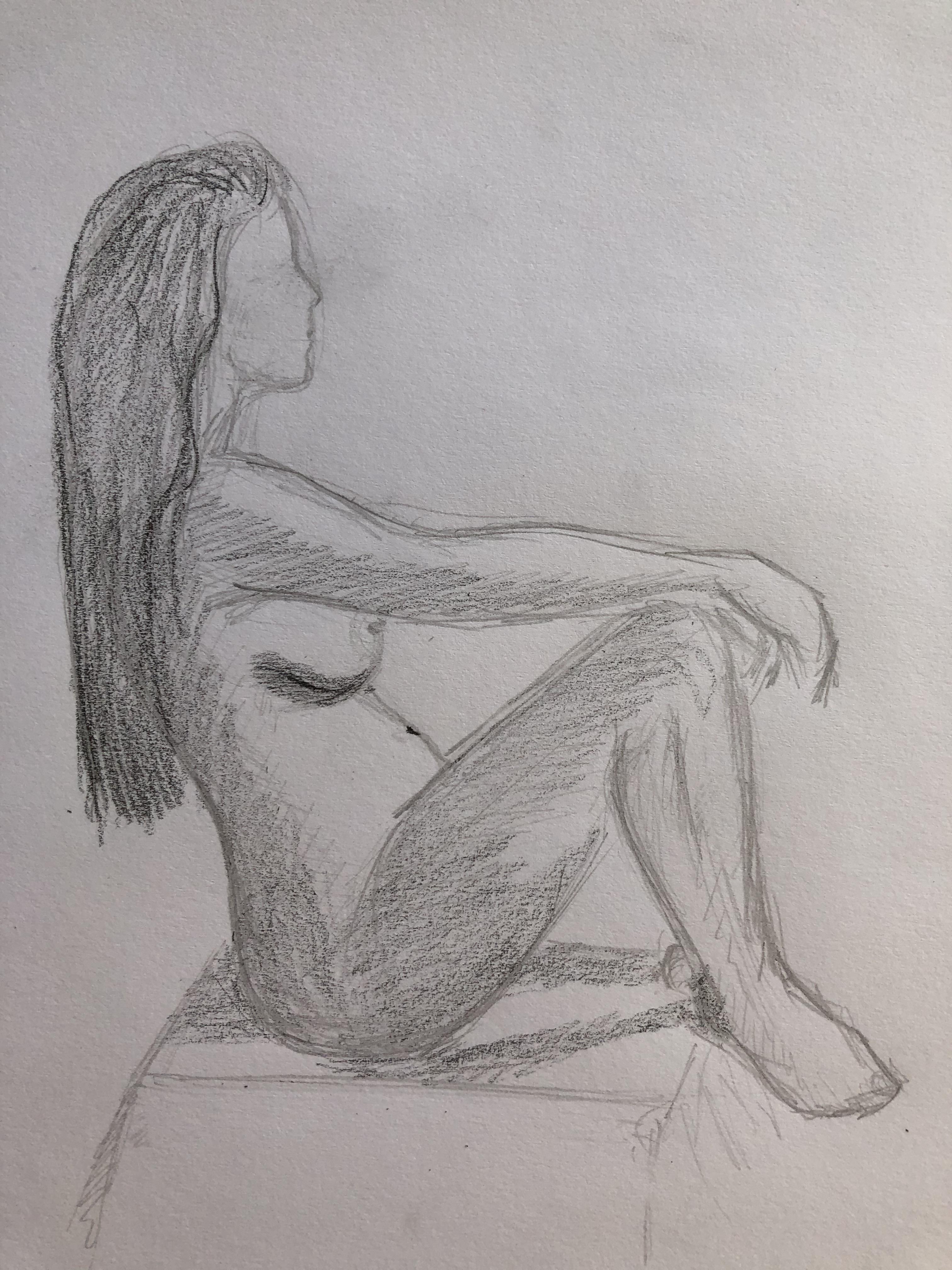 Dessin profil assis  cours de dessin