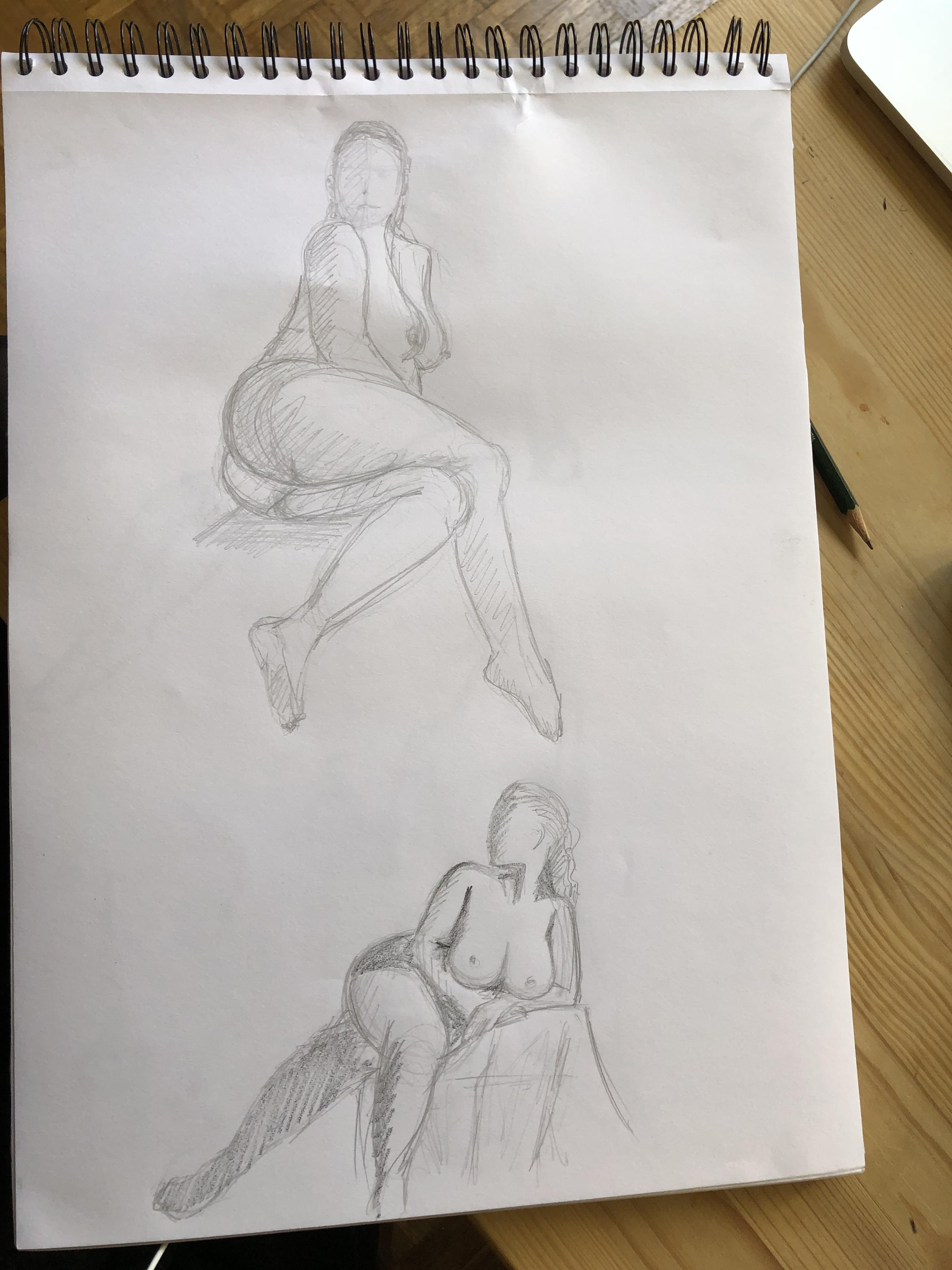 Dessin rapide personnage Assis  cours de dessin