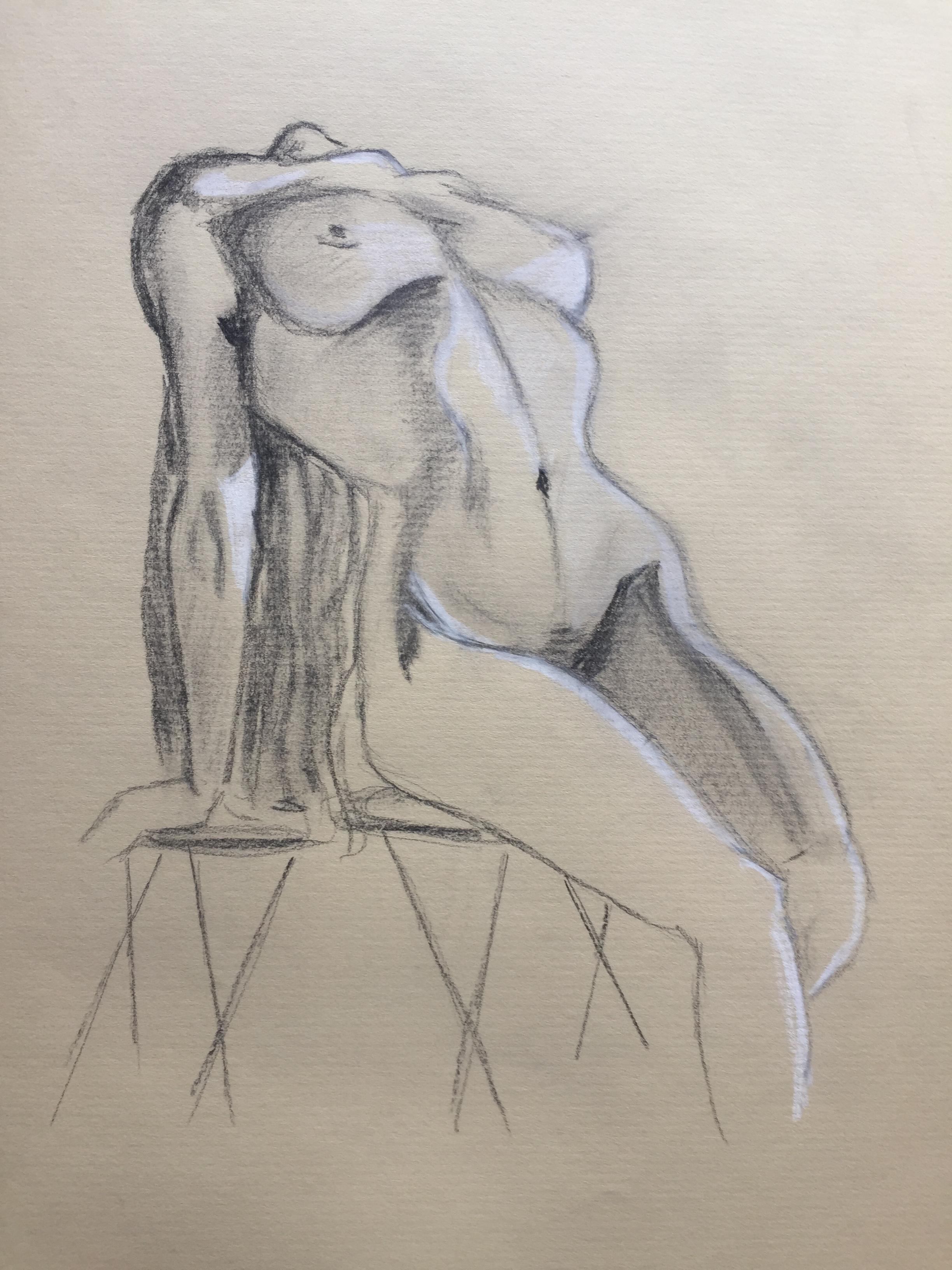 �bauche Pierre noir craie blanche   cours de dessin