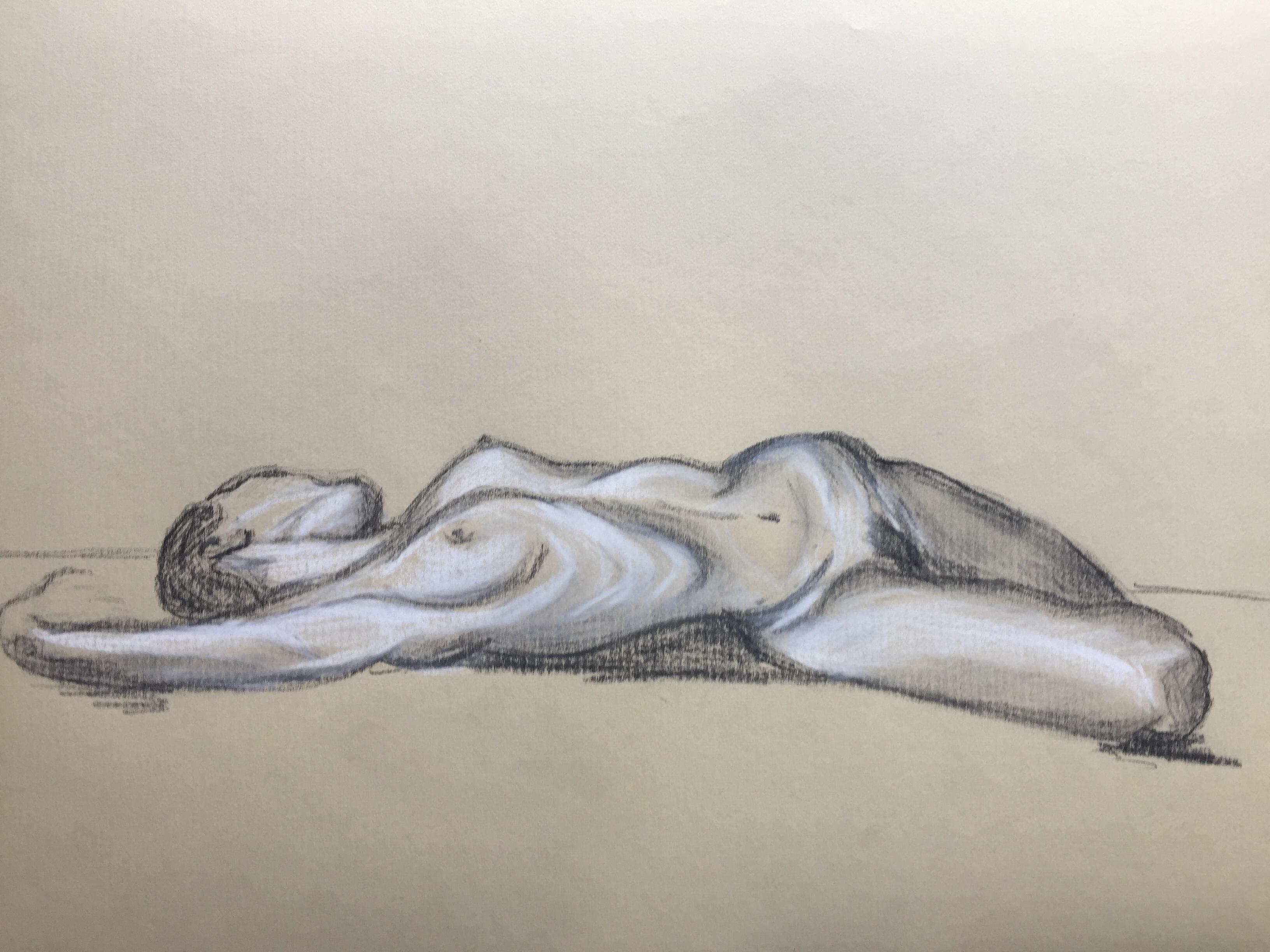 Fusain  craie sur papier color�  cours de dessin