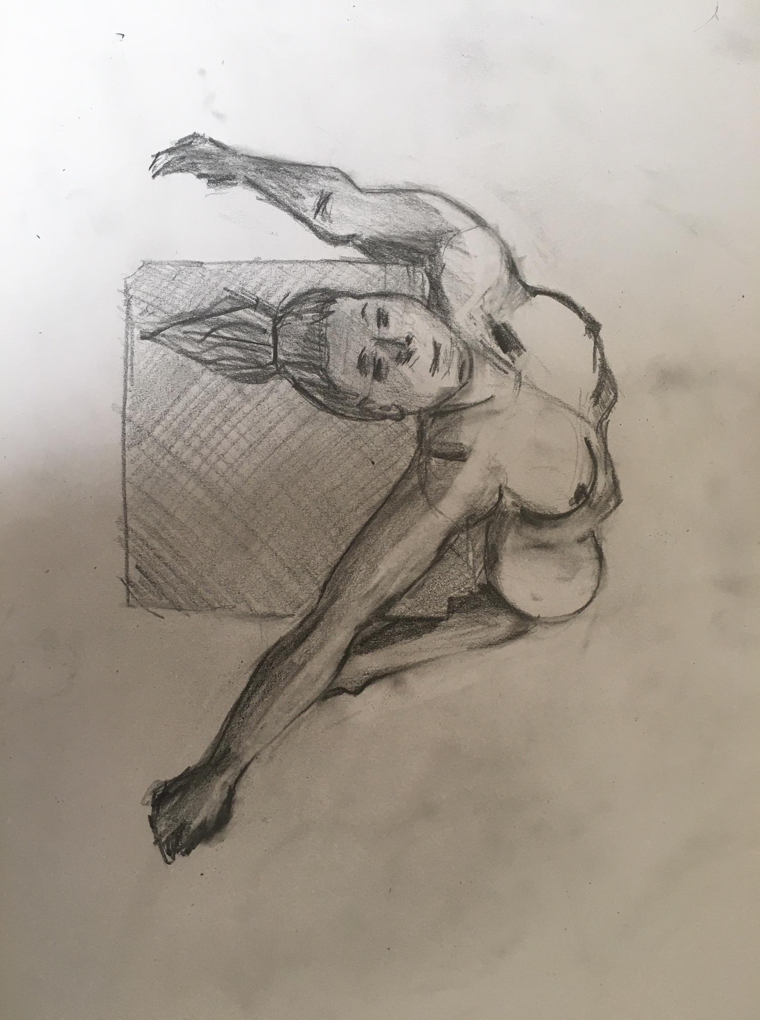 Croquis rapide graphite mod�le vivant en raccourci  cours de dessin