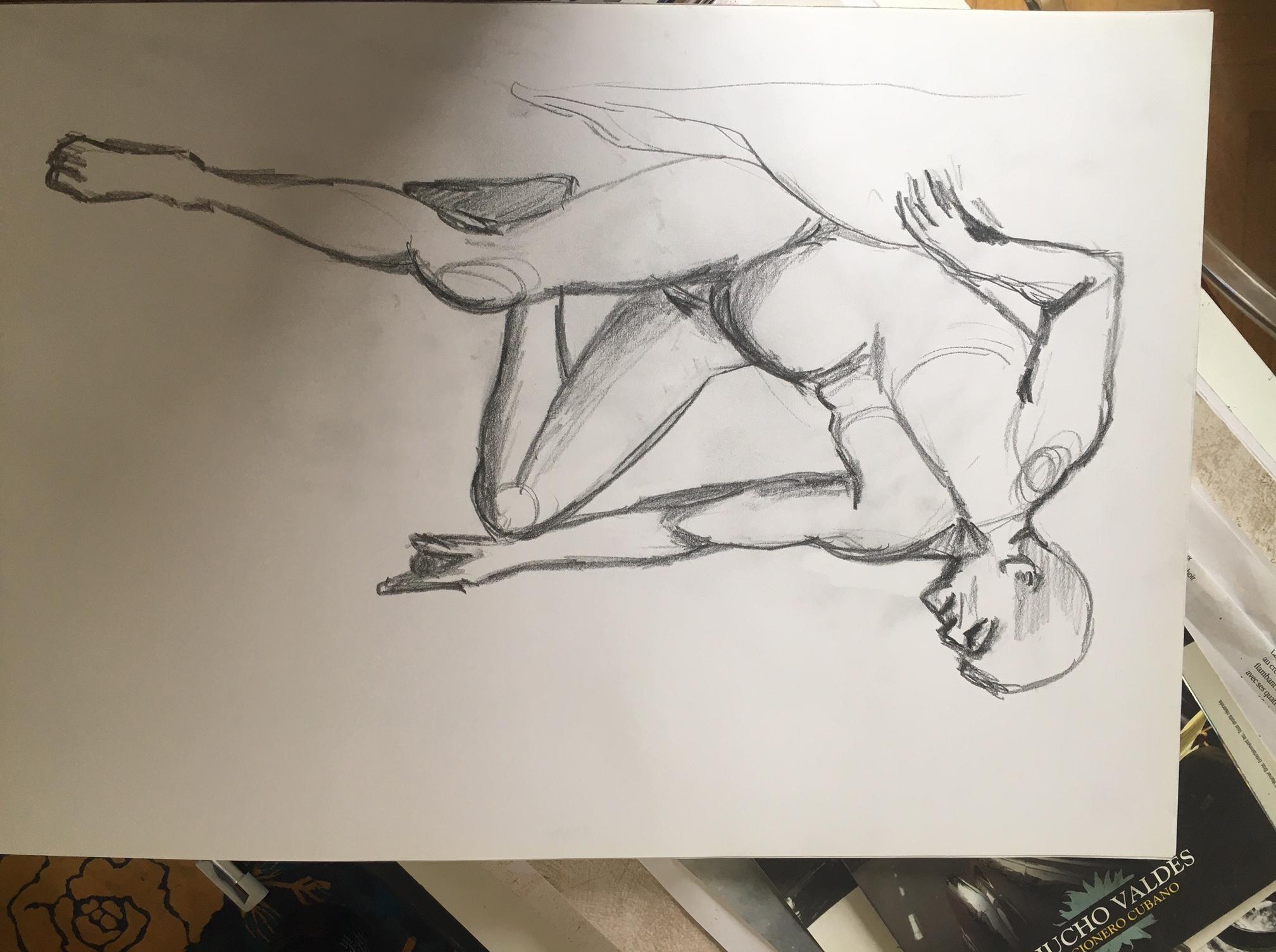 Croquis de mod�le vivant homme Michel-Ange crayon  cours de dessin