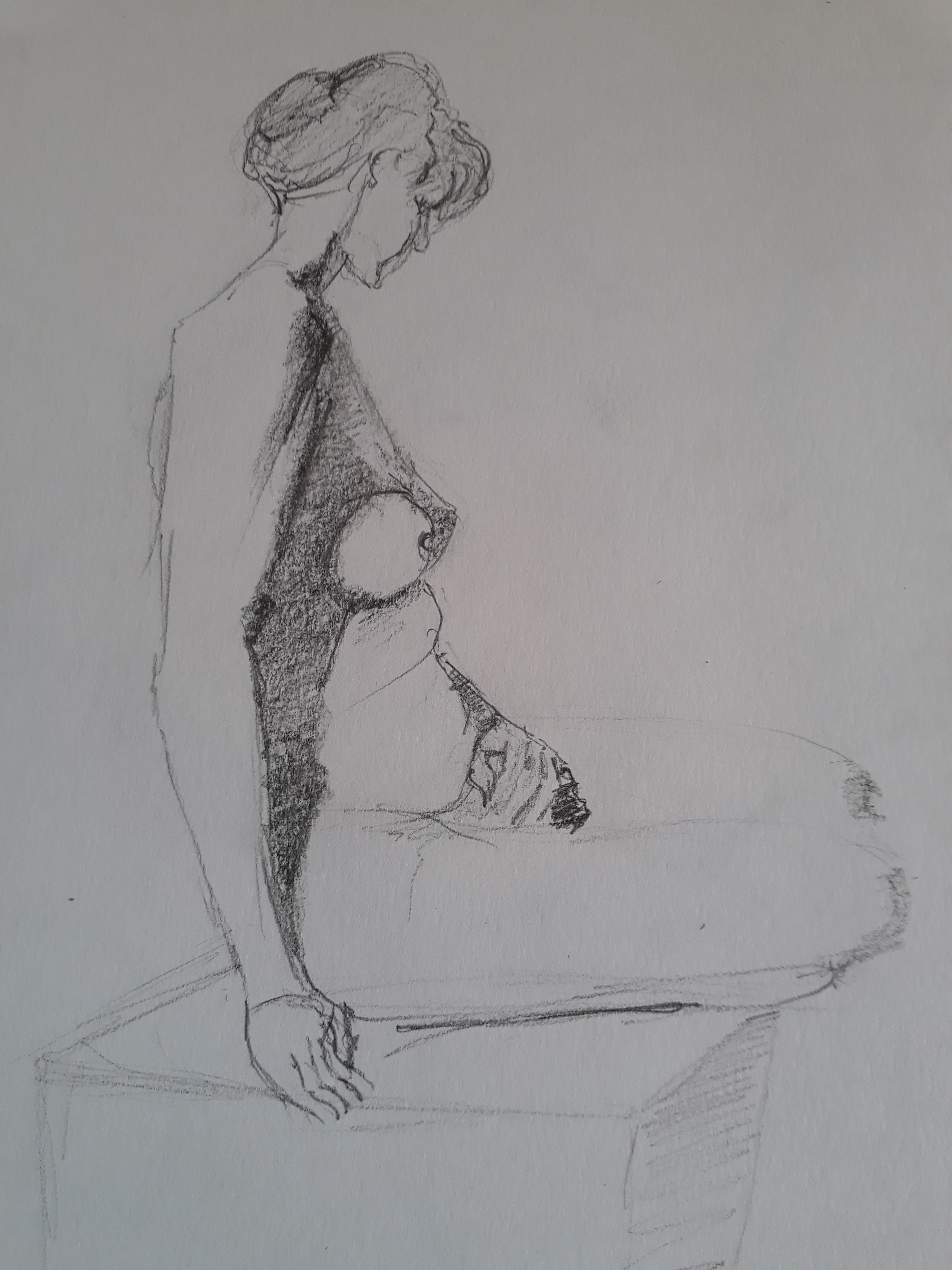 Dessin Pierre noir femme assise  cours de dessin