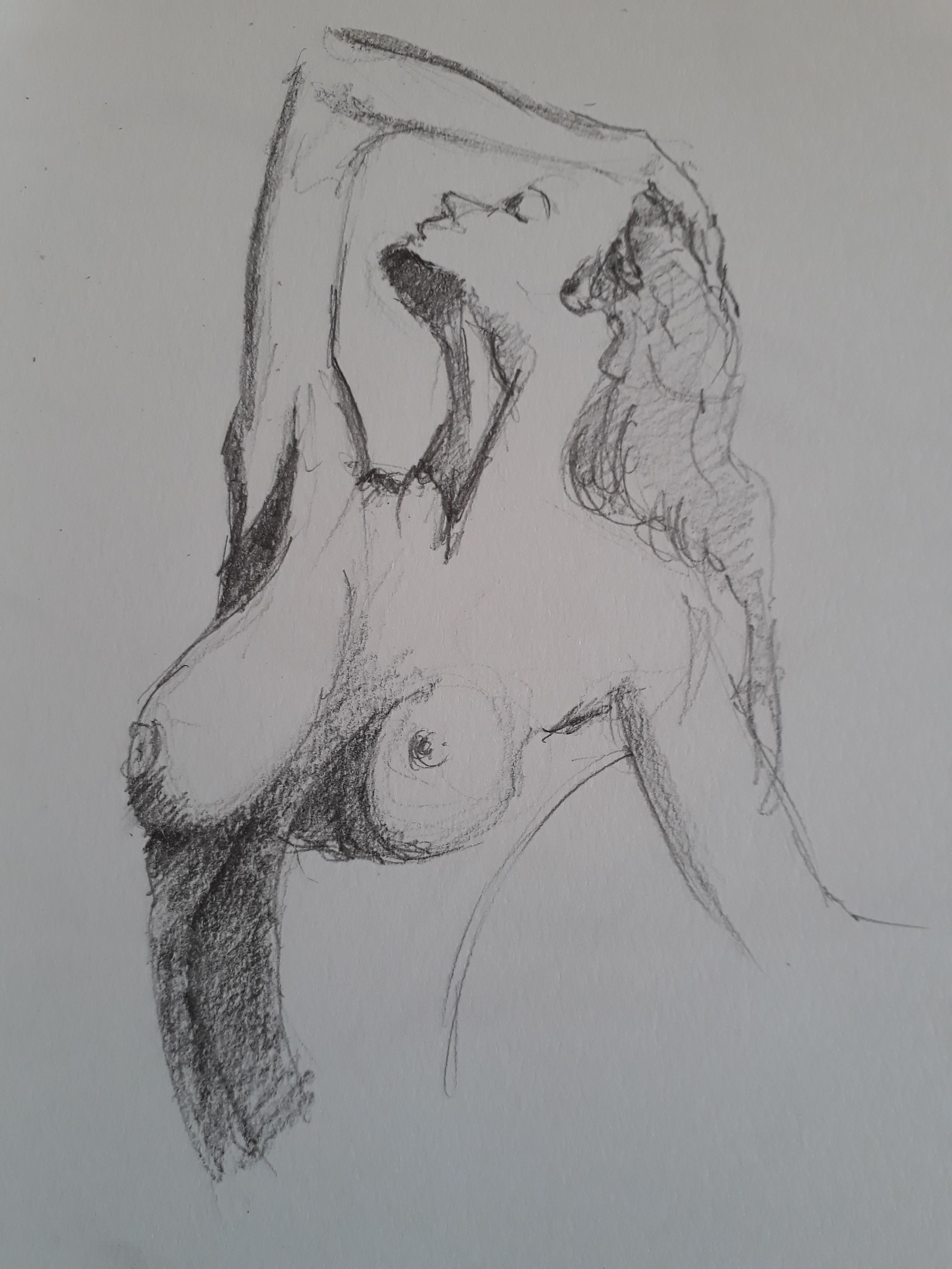 Buste de femme hachures crayon papier  cours de dessin