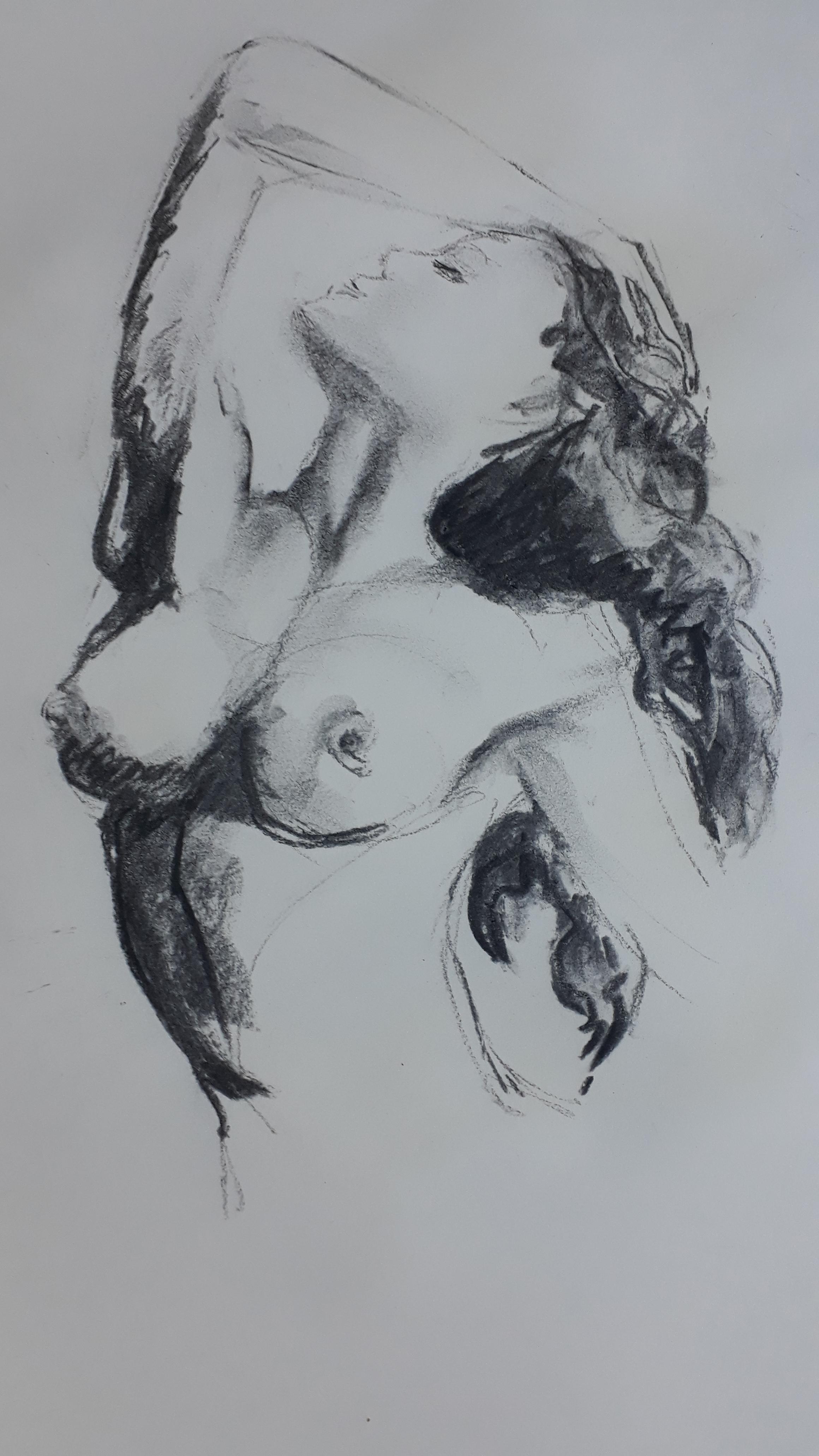 Buste femme fusain sur papier  cours de dessin