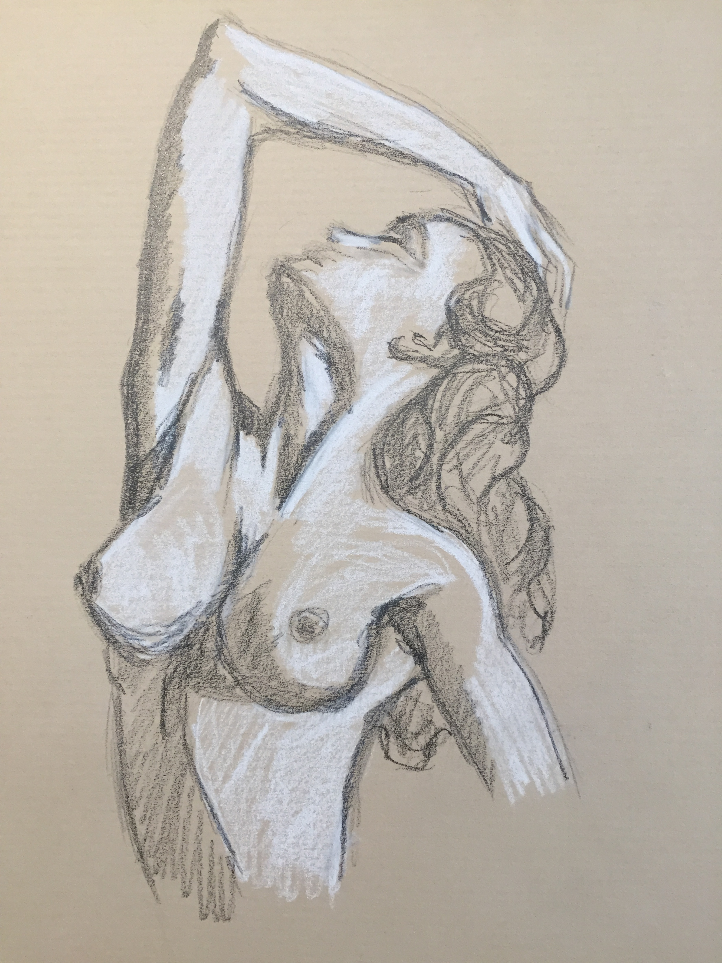 Esquisse Buste de femme mine de plomb et craie  blanche  cours de dessin