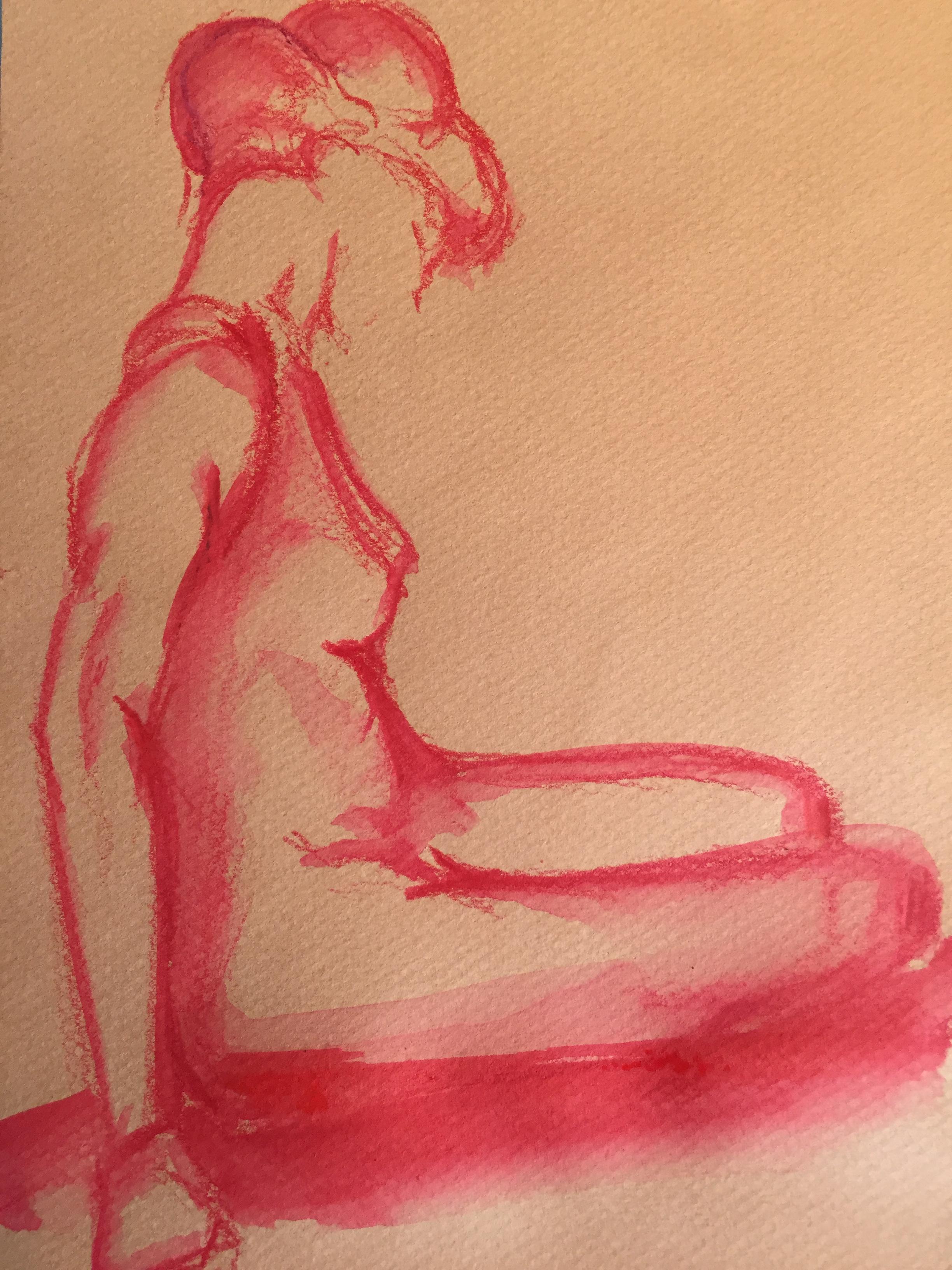 Crayon rouge aquarelles sur papier Mi teinte Canson  cours de dessin