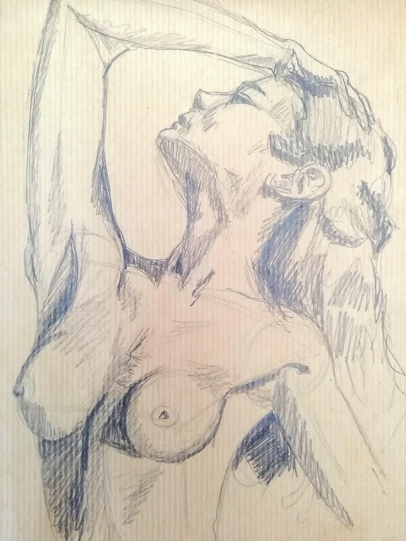 Croquis buste de femme hachures  cours de dessin