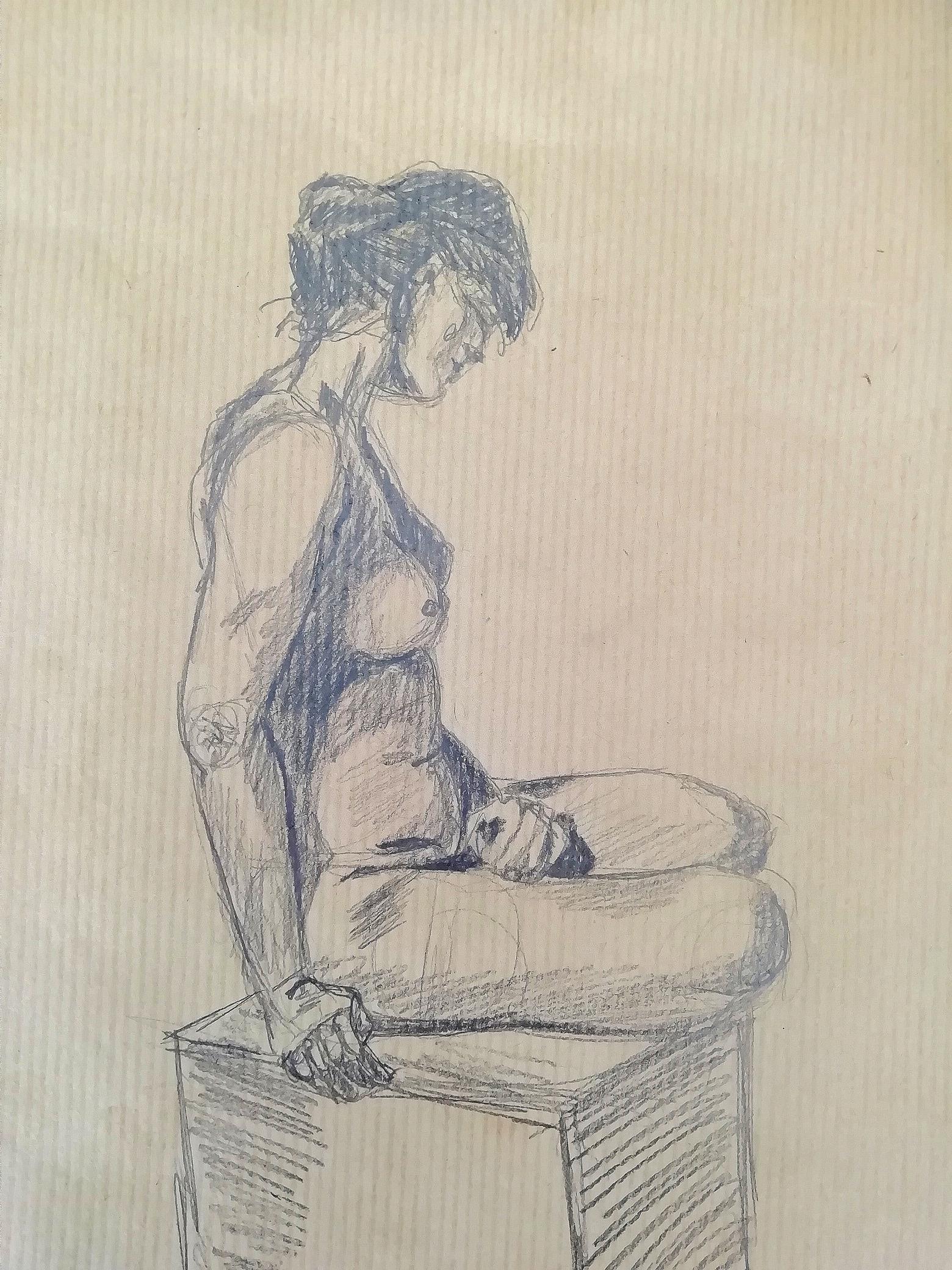 Dessin de Mod�le vivant assis sur papier Kraft  cours de dessin