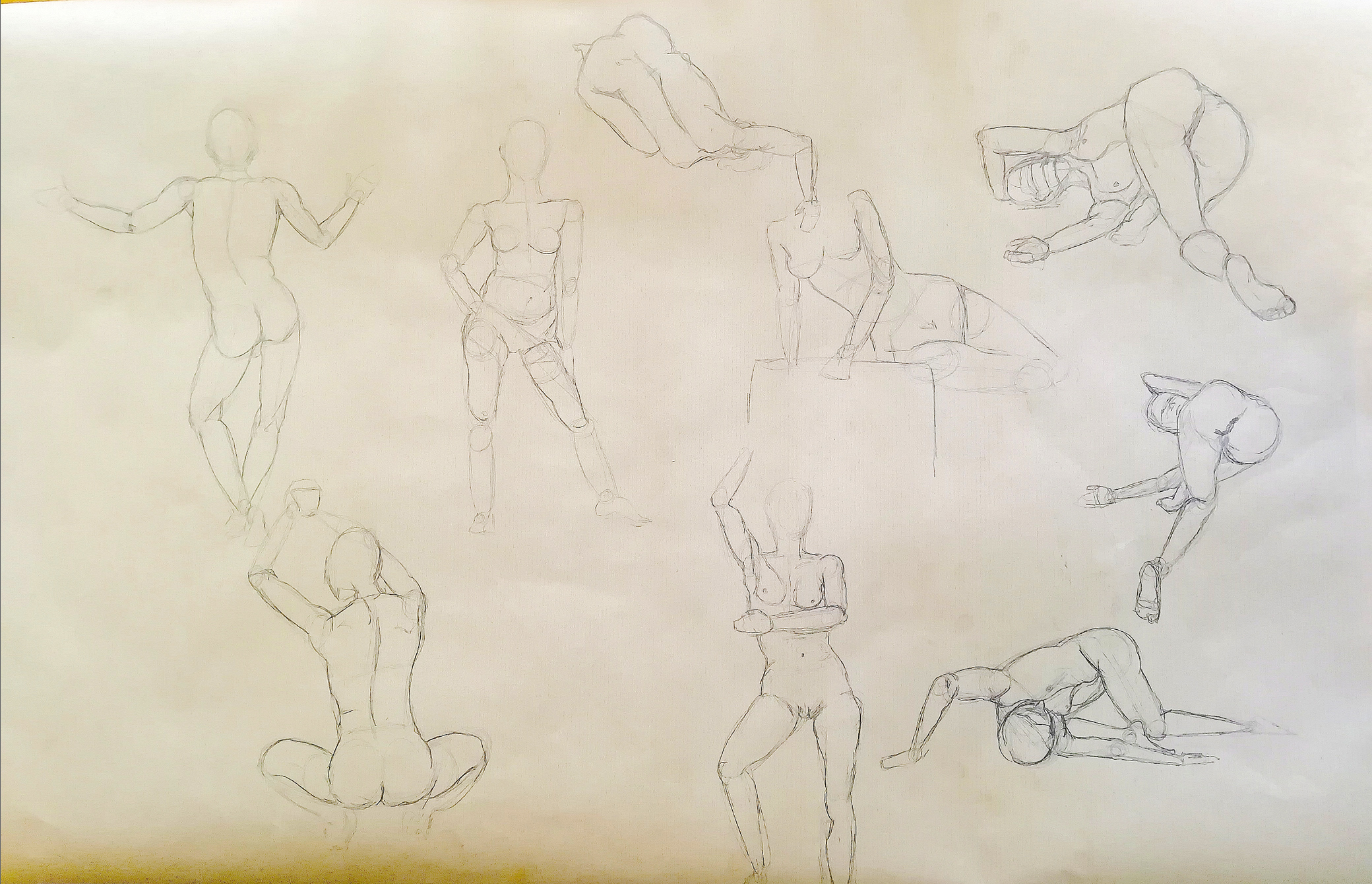 Croquis rapide �tude de position du corps humain  cours de dessin