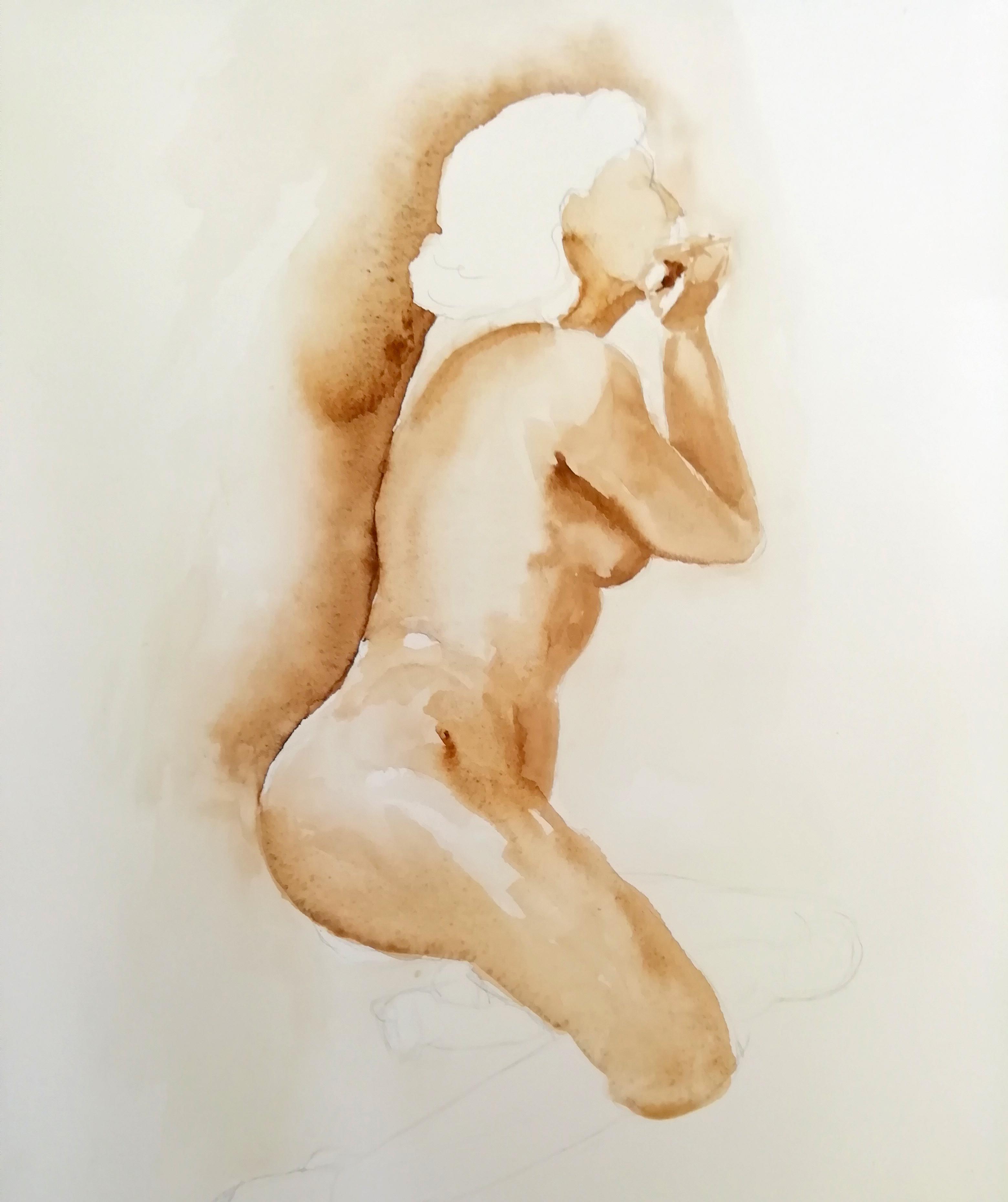 Aquarelle Femme profil  cours de dessin