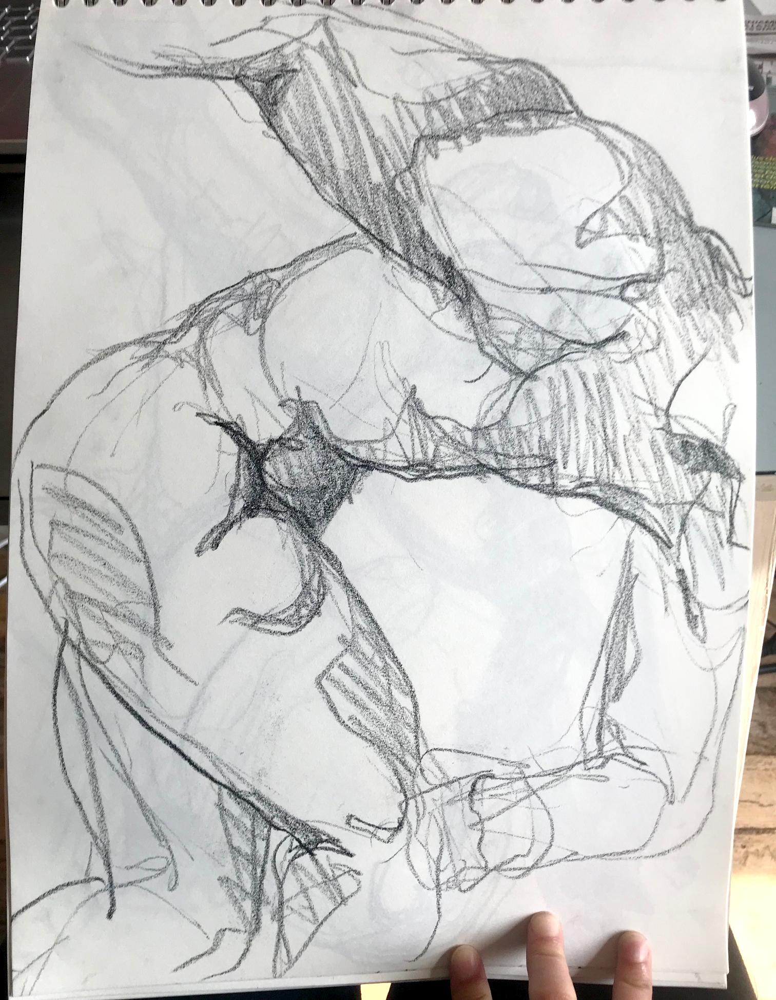 Croquis discobole Crayon papier  cours de dessin