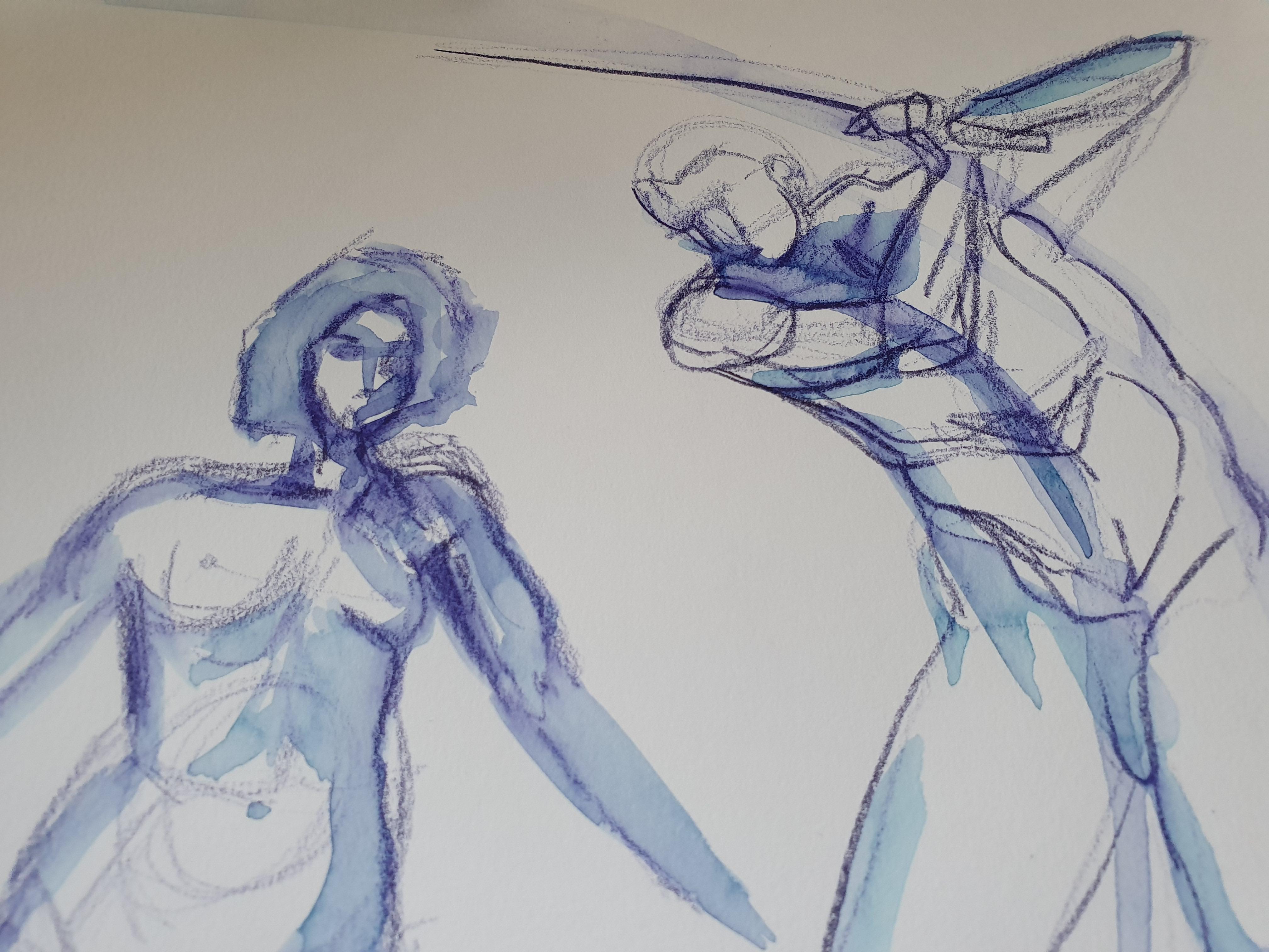 Dessin crayon aquarelle sur papier samoura�  cours de dessin