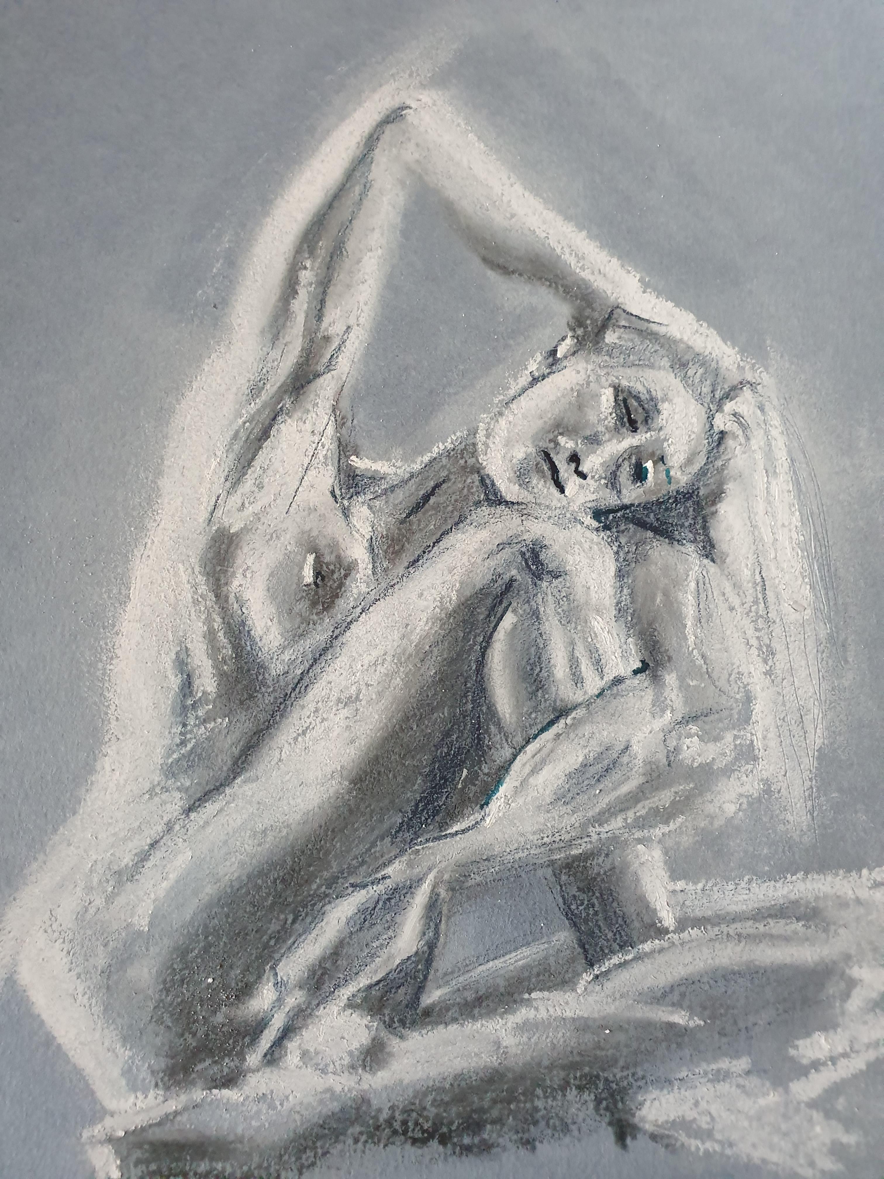 Dessin pastel blanc fusain sur papier gris  cours de dessin