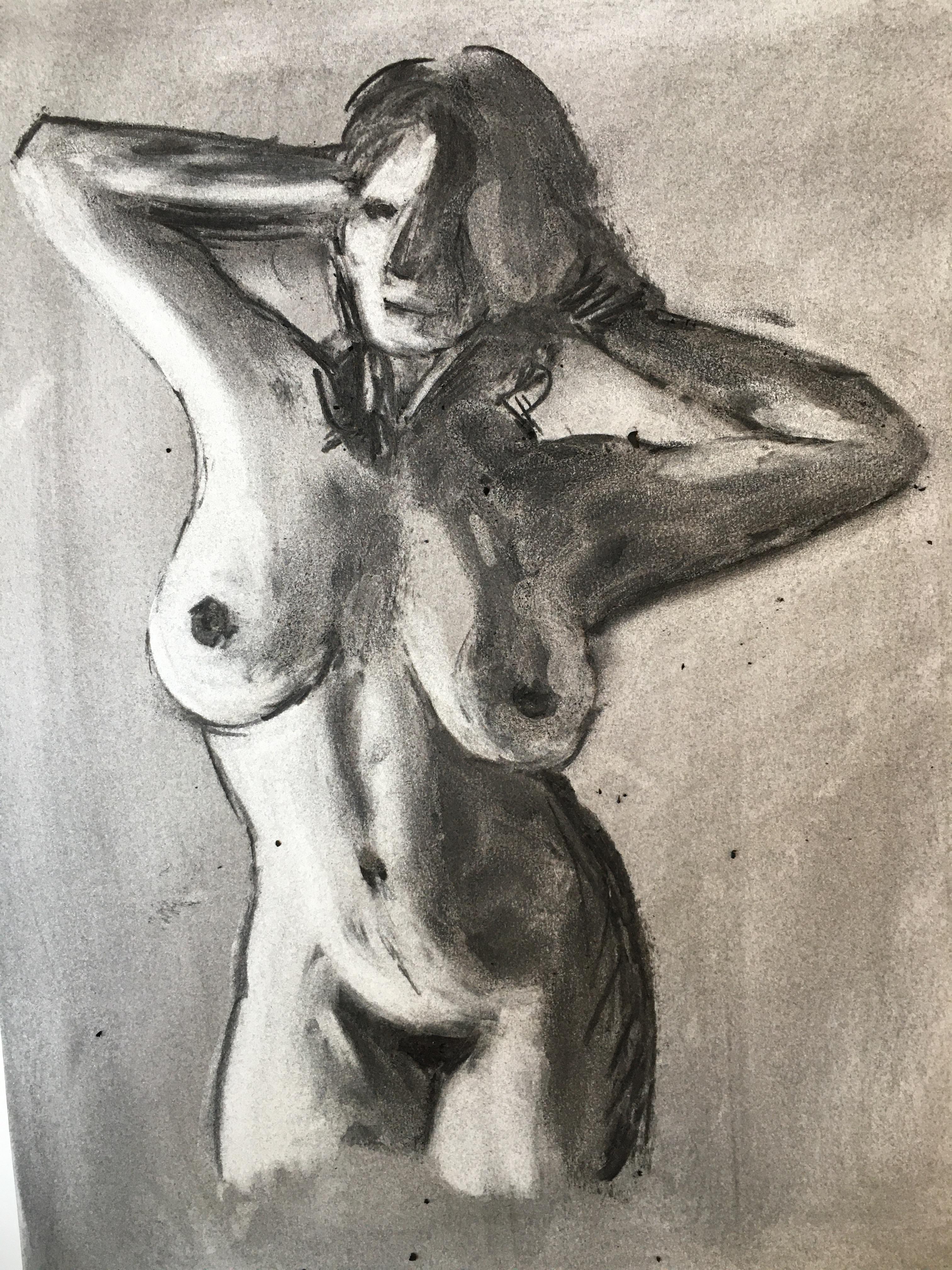 Dessin fusain buste femme  cours de dessin