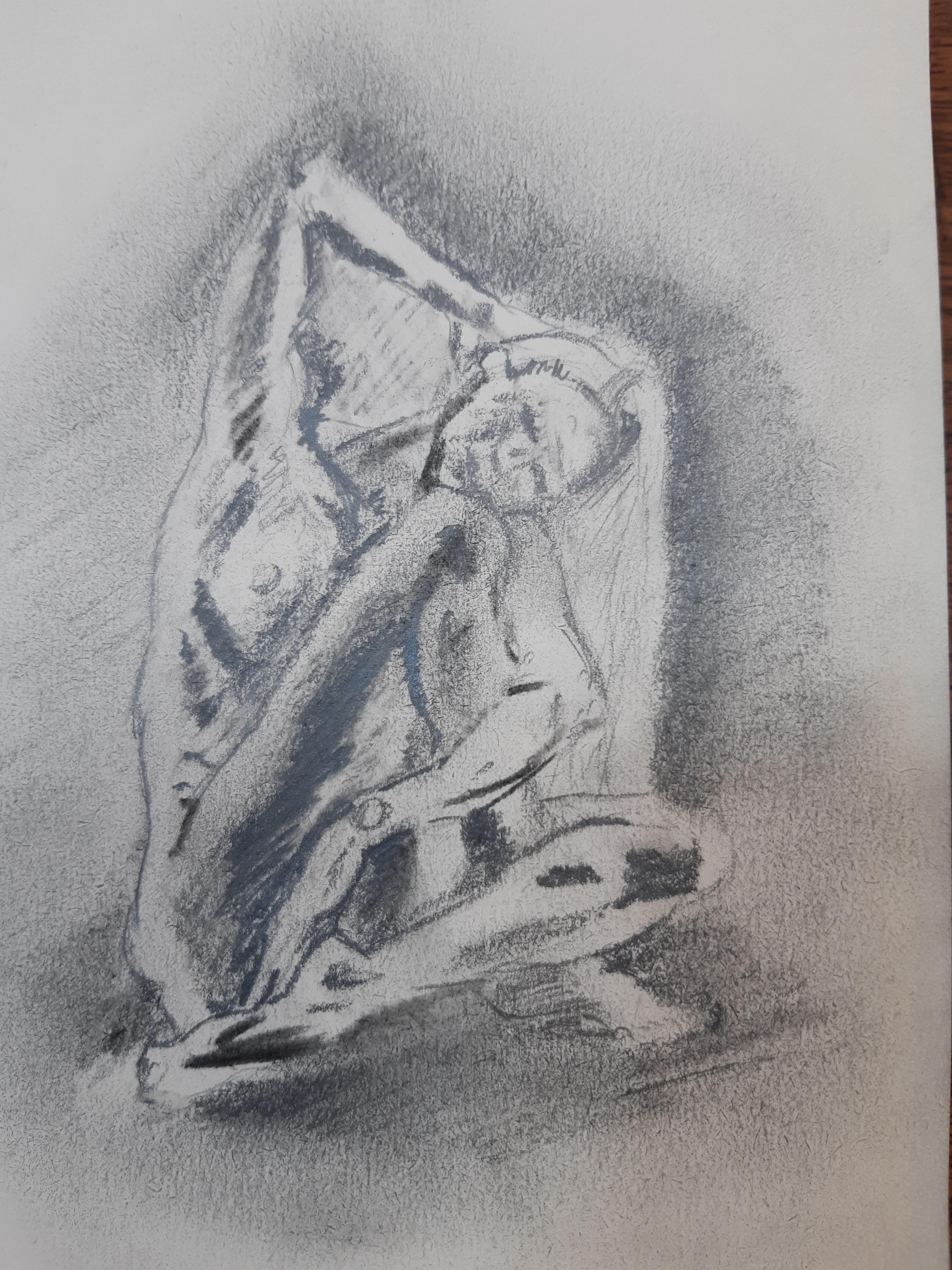 �bauche graphite en masse sur papier gris  cours de dessin