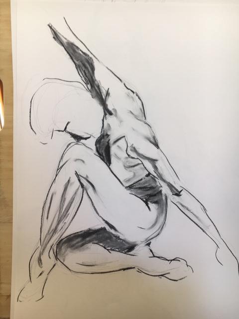 Croquis fusain sur papier  cours de dessin