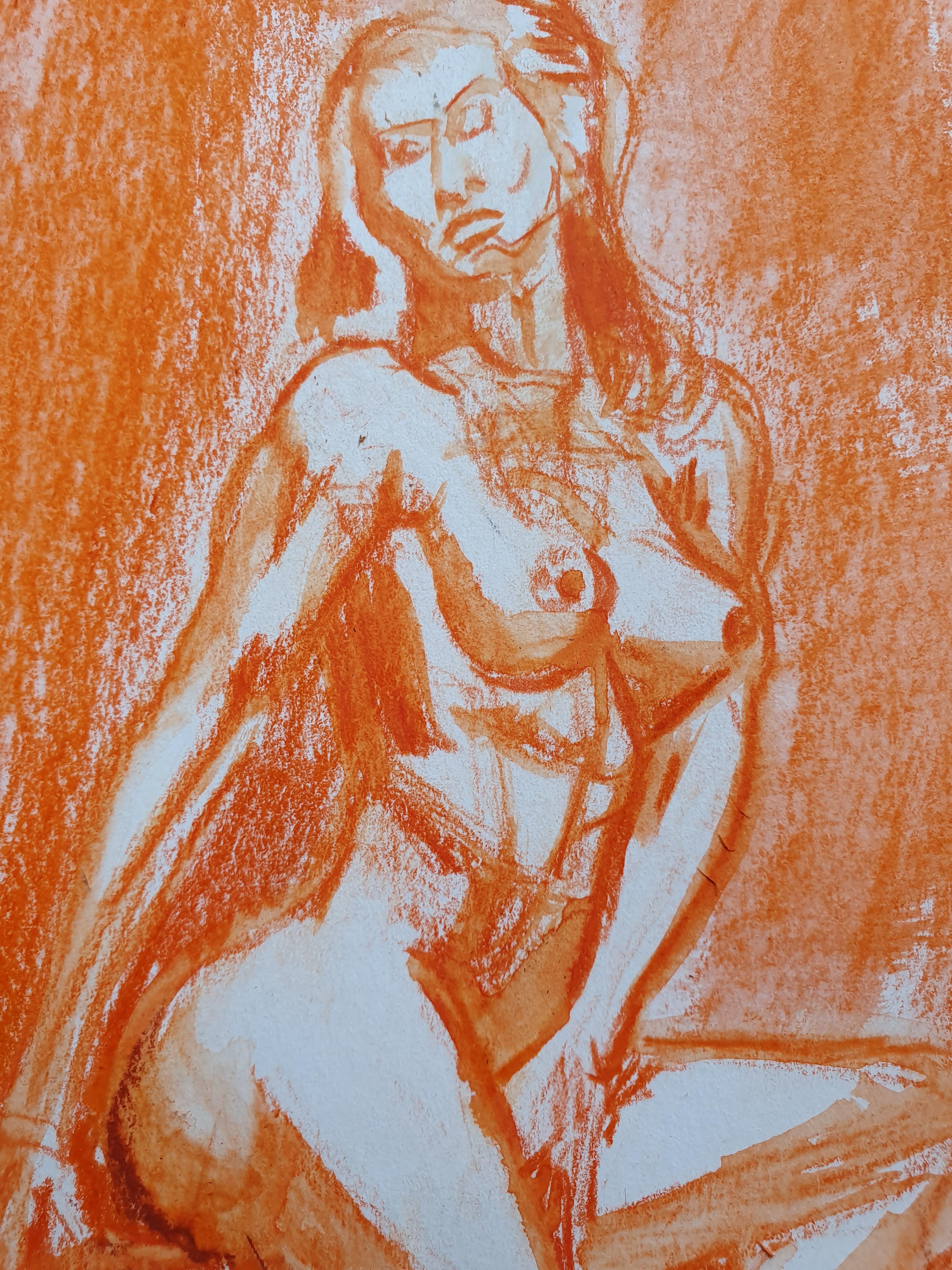 Pastels secs  orange  Diluer � l'eau croquis buste femme  cours de dessin