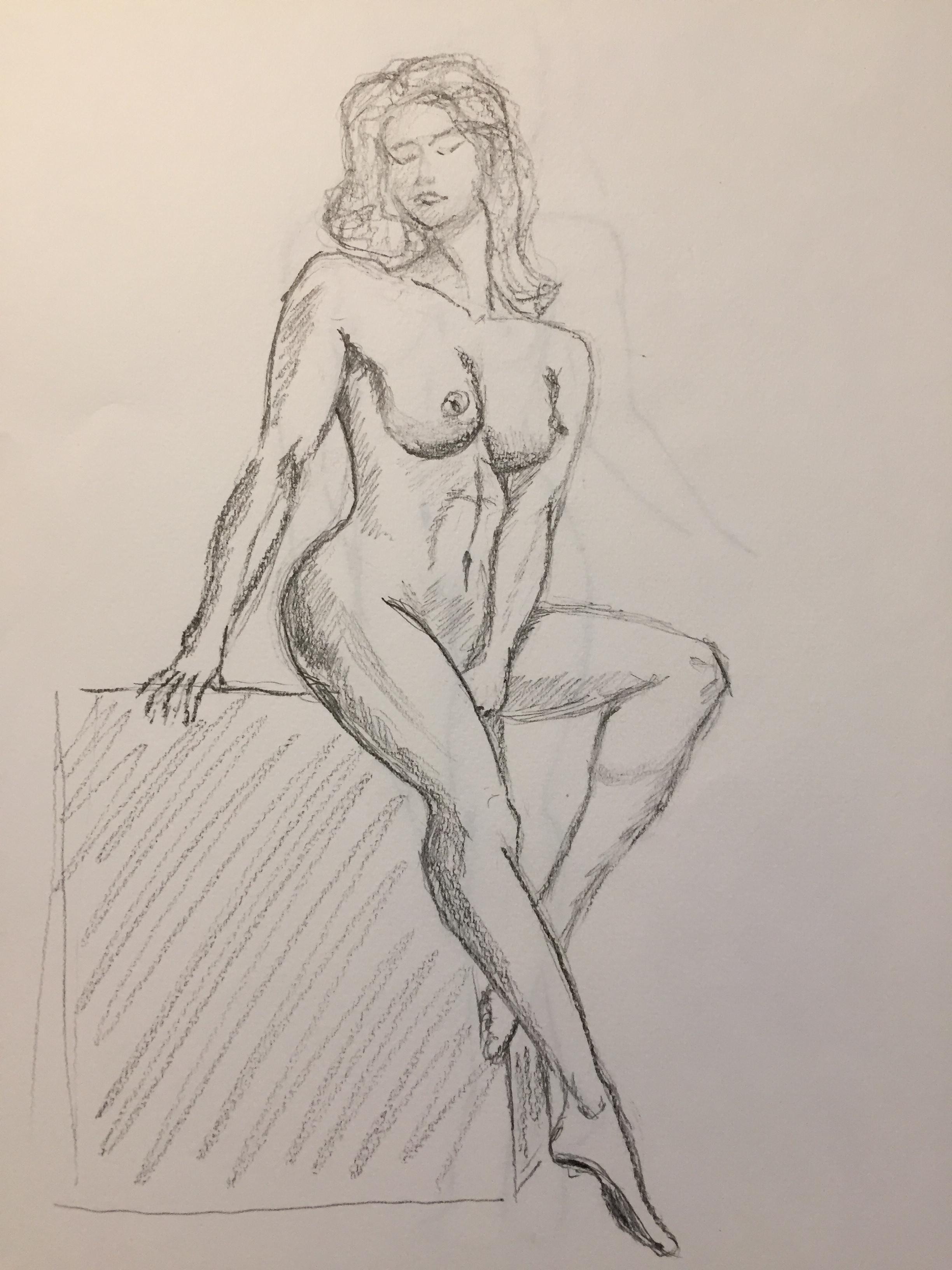 Dessin mod�le vivant crayon papier hachures  cours de dessin