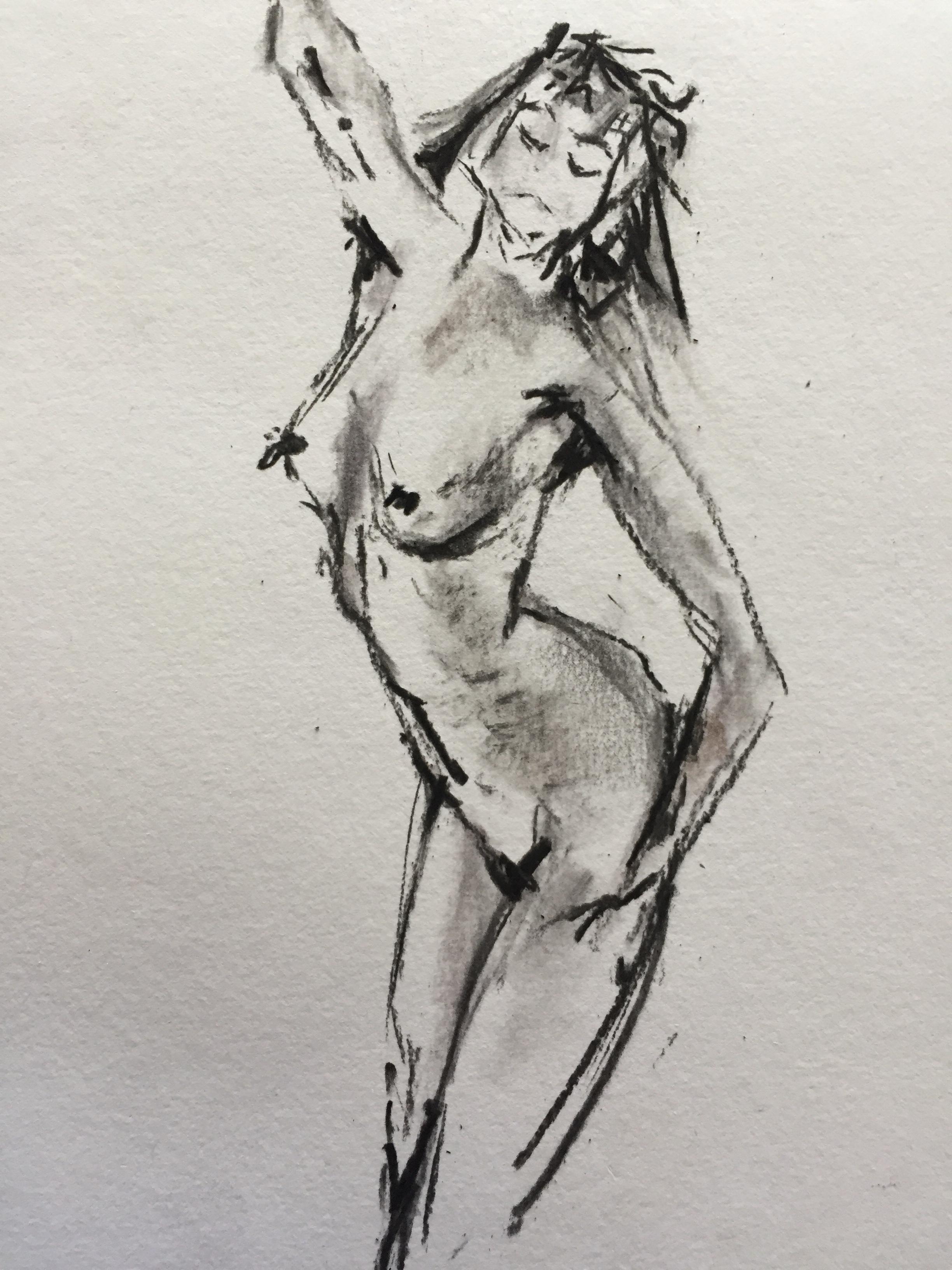 Esquisse rapide fusain sur papier  cours de dessin