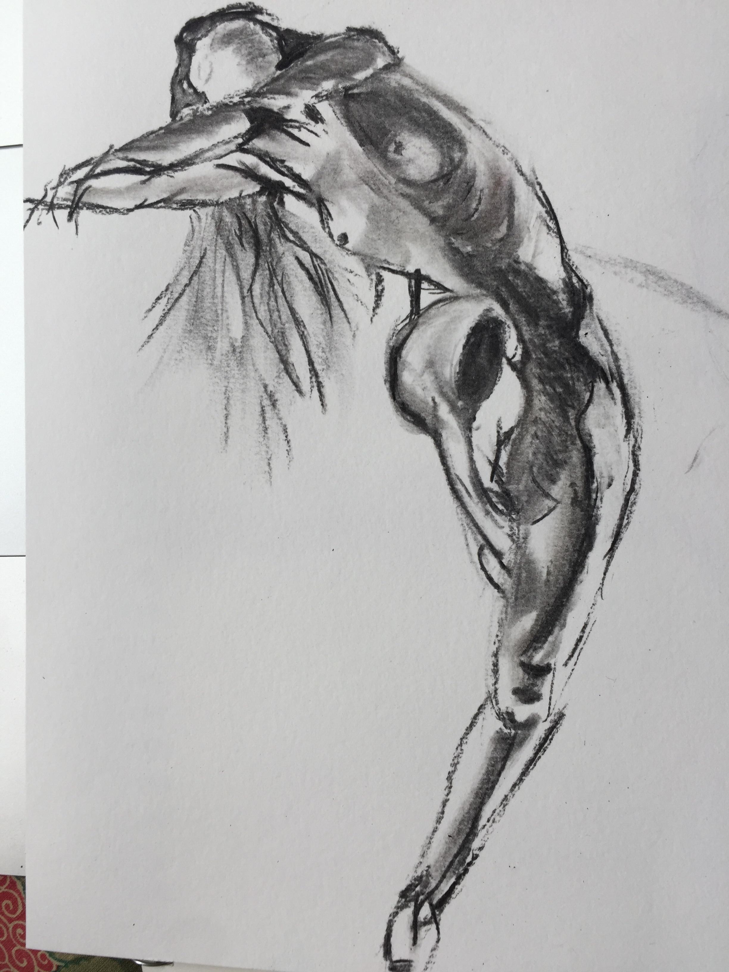 Danseuse fusain sur papier croquis  cours de dessin