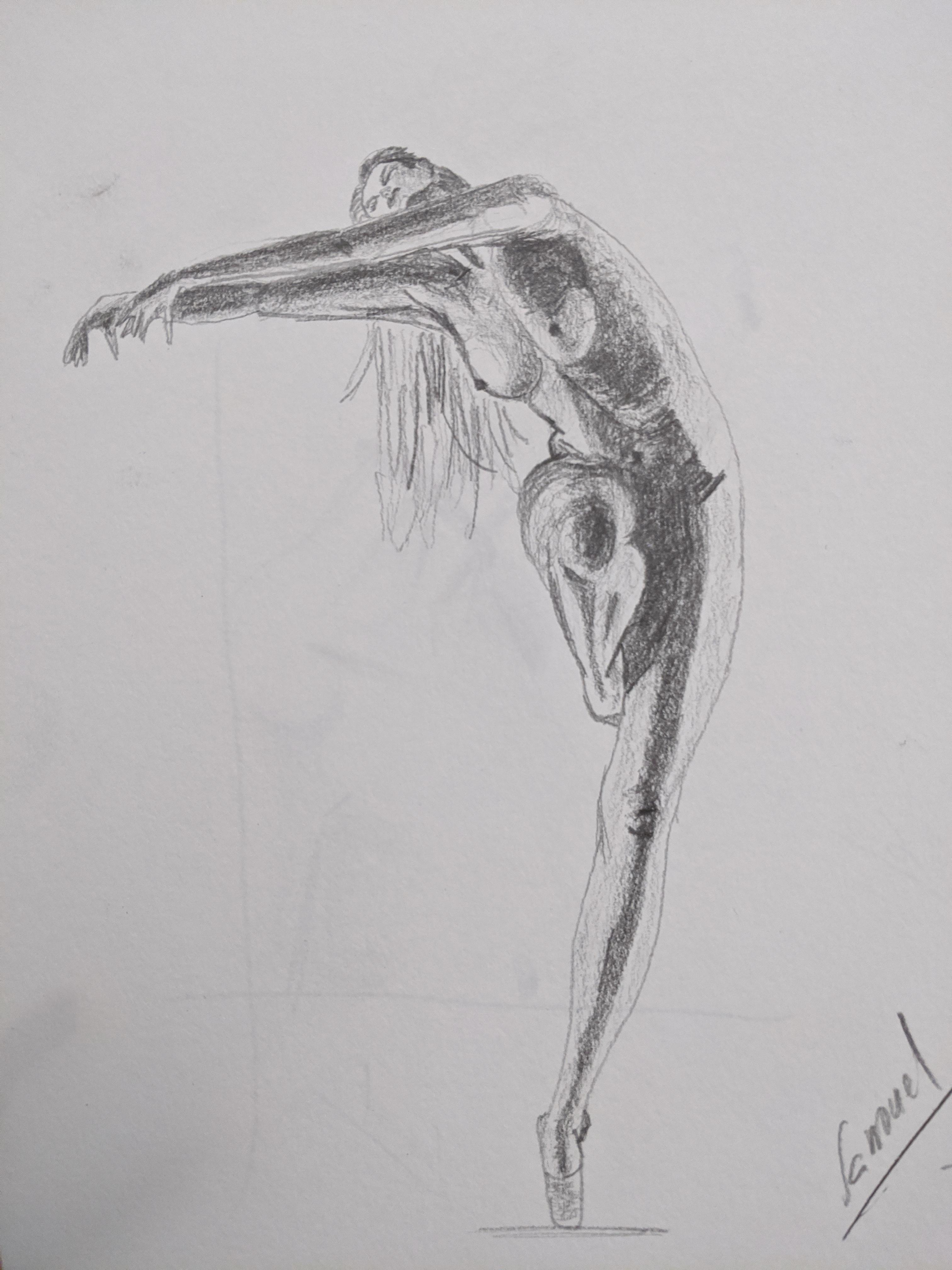 Dessin danseuse graphite sur papier  cours de dessin