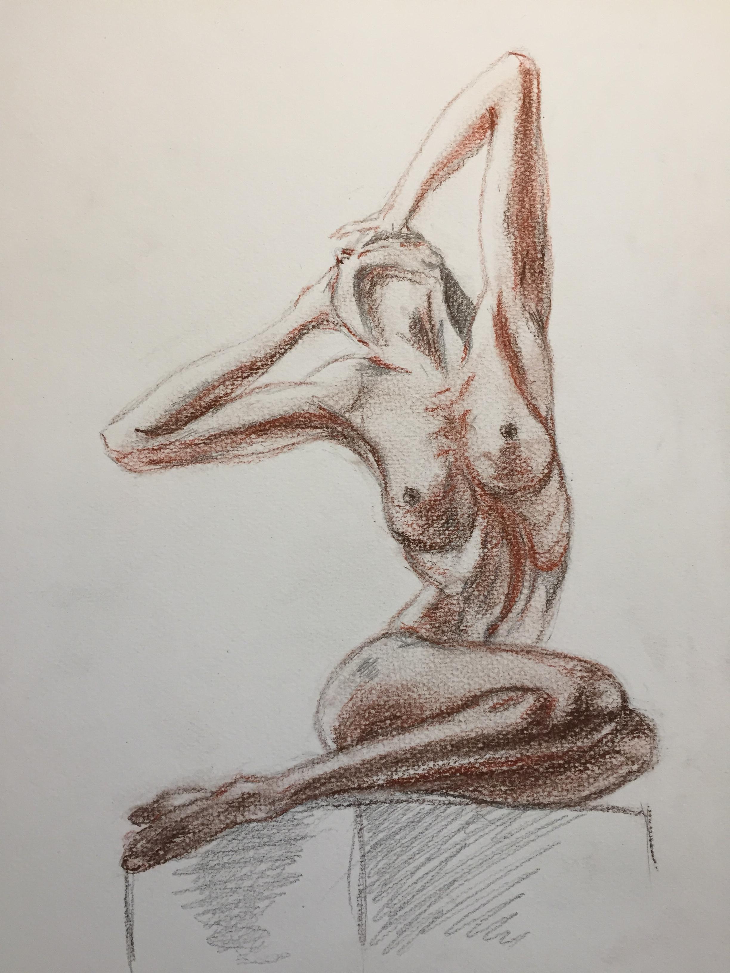 Croquis graphite sanguine pose assise  cours de dessin