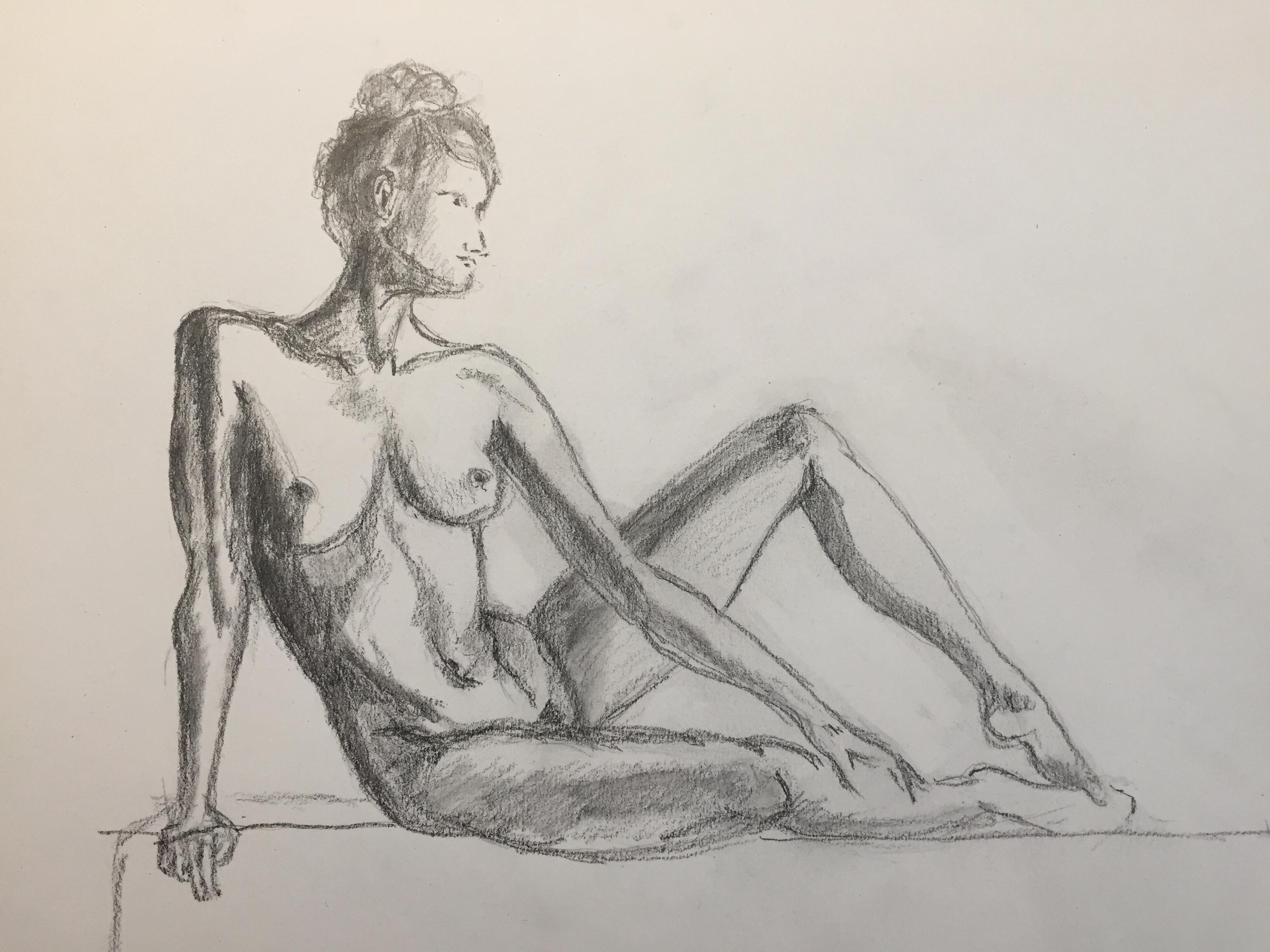 Dessin graphite hachures pose assise  cours de dessin